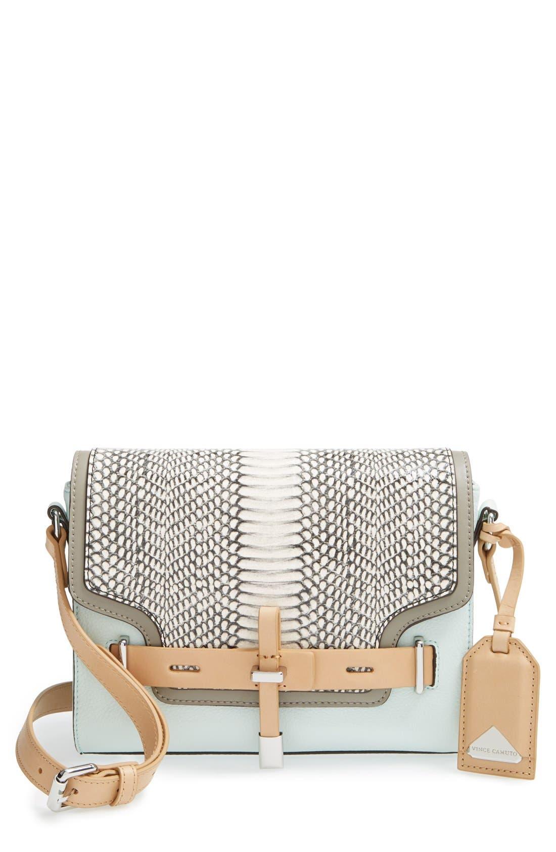 'Max' Leather Crossbody Bag,                         Main,                         color, Aqua Ice/ Snow White Snake