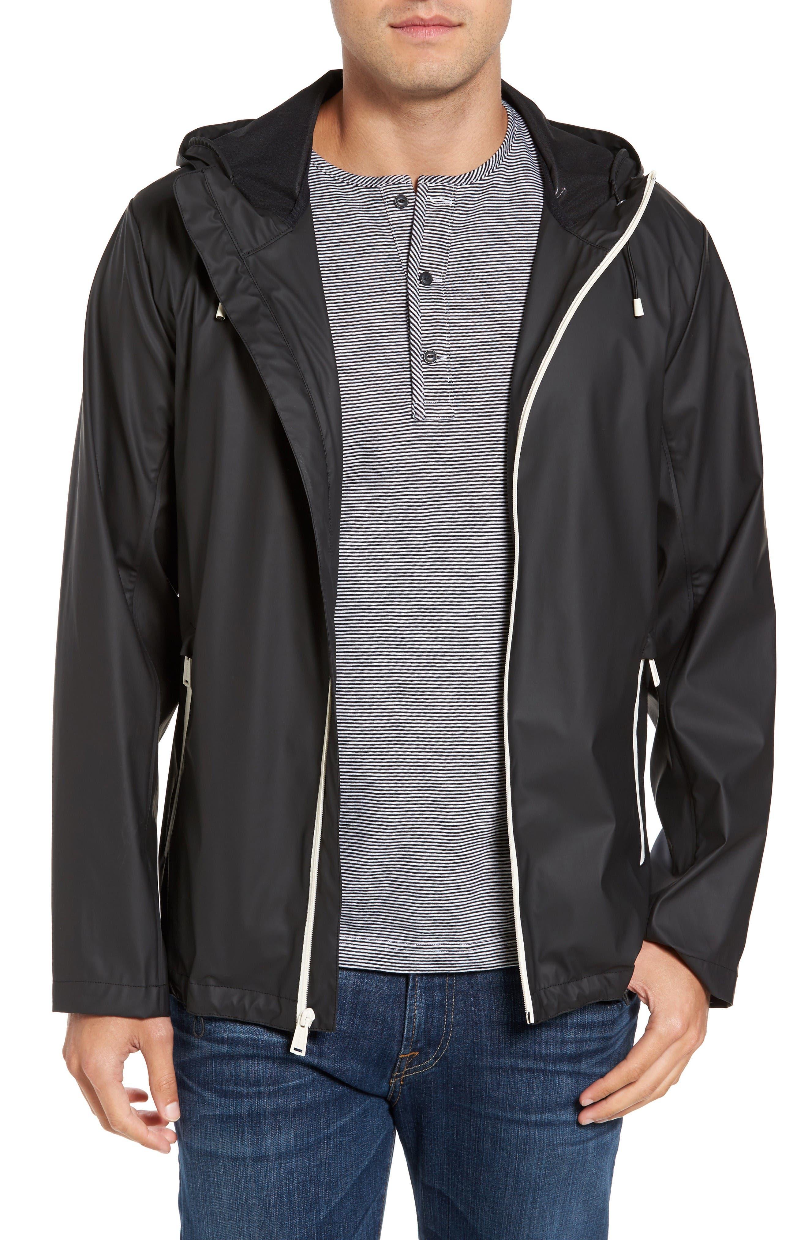 Rubberized Hooded Jacket,                             Main thumbnail 1, color,                             Black