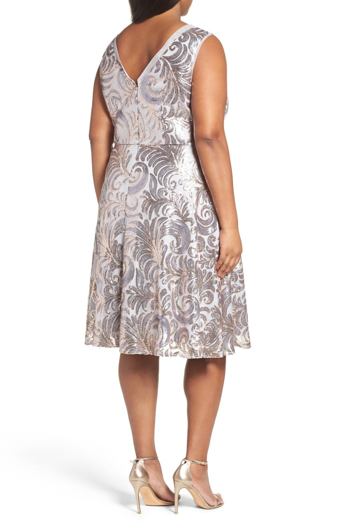 Sequin Fit & Flare Dress,                             Alternate thumbnail 2, color,                             Gold/ Silver