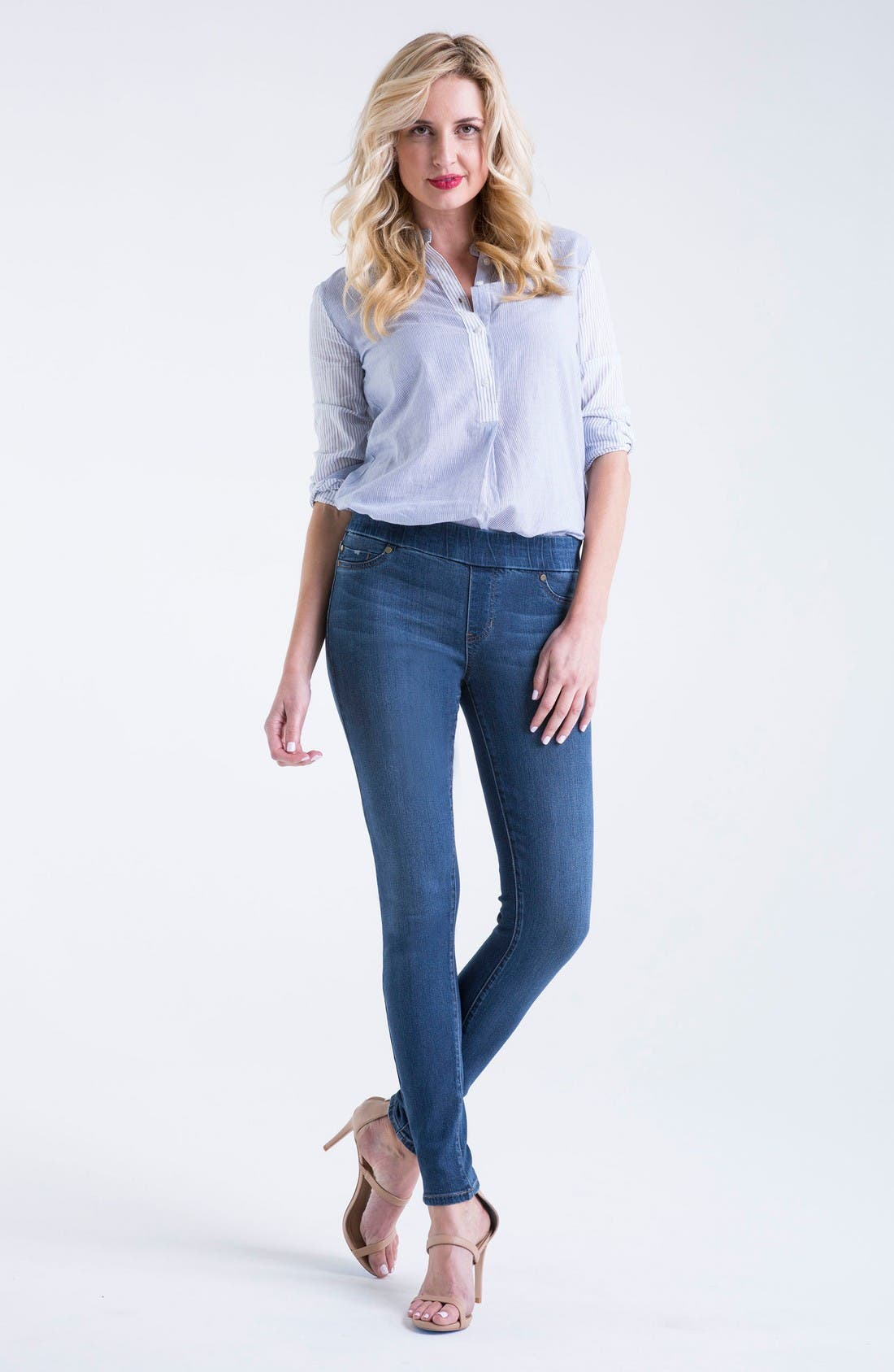 Alternate Image 2  - Liverpool Jeans Company Sienna Mid Rise Soft Stretch Denim Leggings (Petrol)