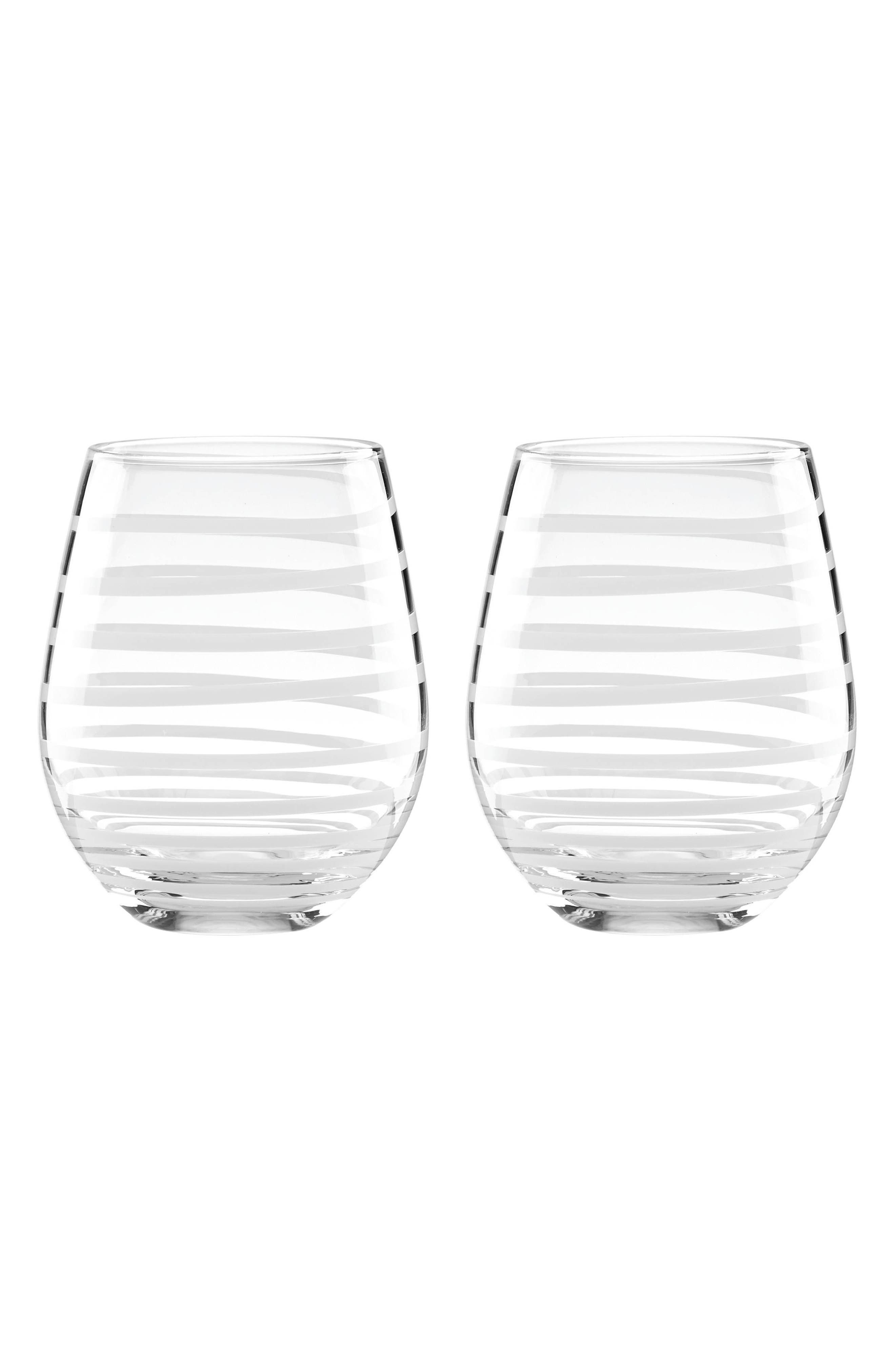 Main Image - kate spade new york set of 2 etched stemless wine glasses