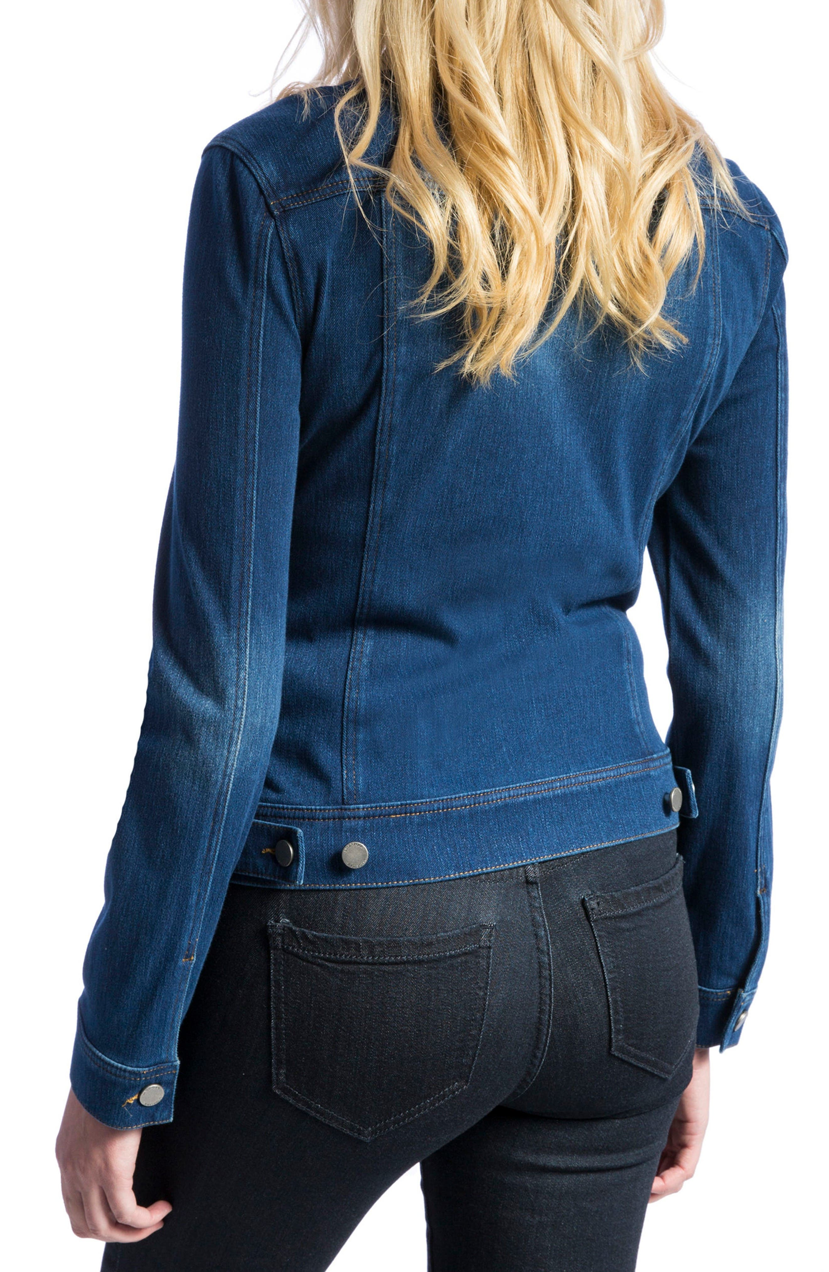 Knit Denim Jacket,                             Alternate thumbnail 4, color,                             Admiral Blue