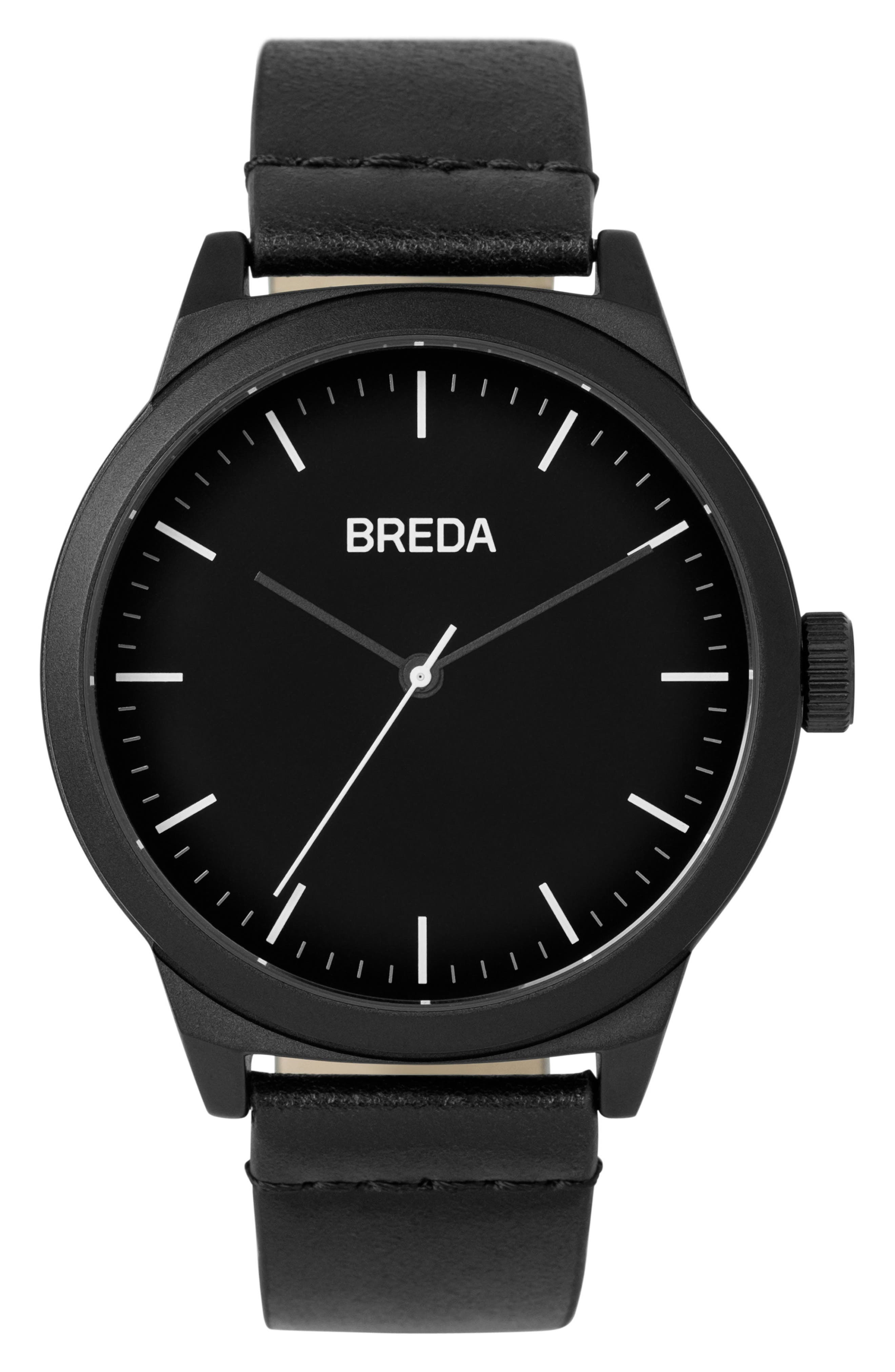 Main Image - BREDA Rand Leather Strap Watch, 43mm
