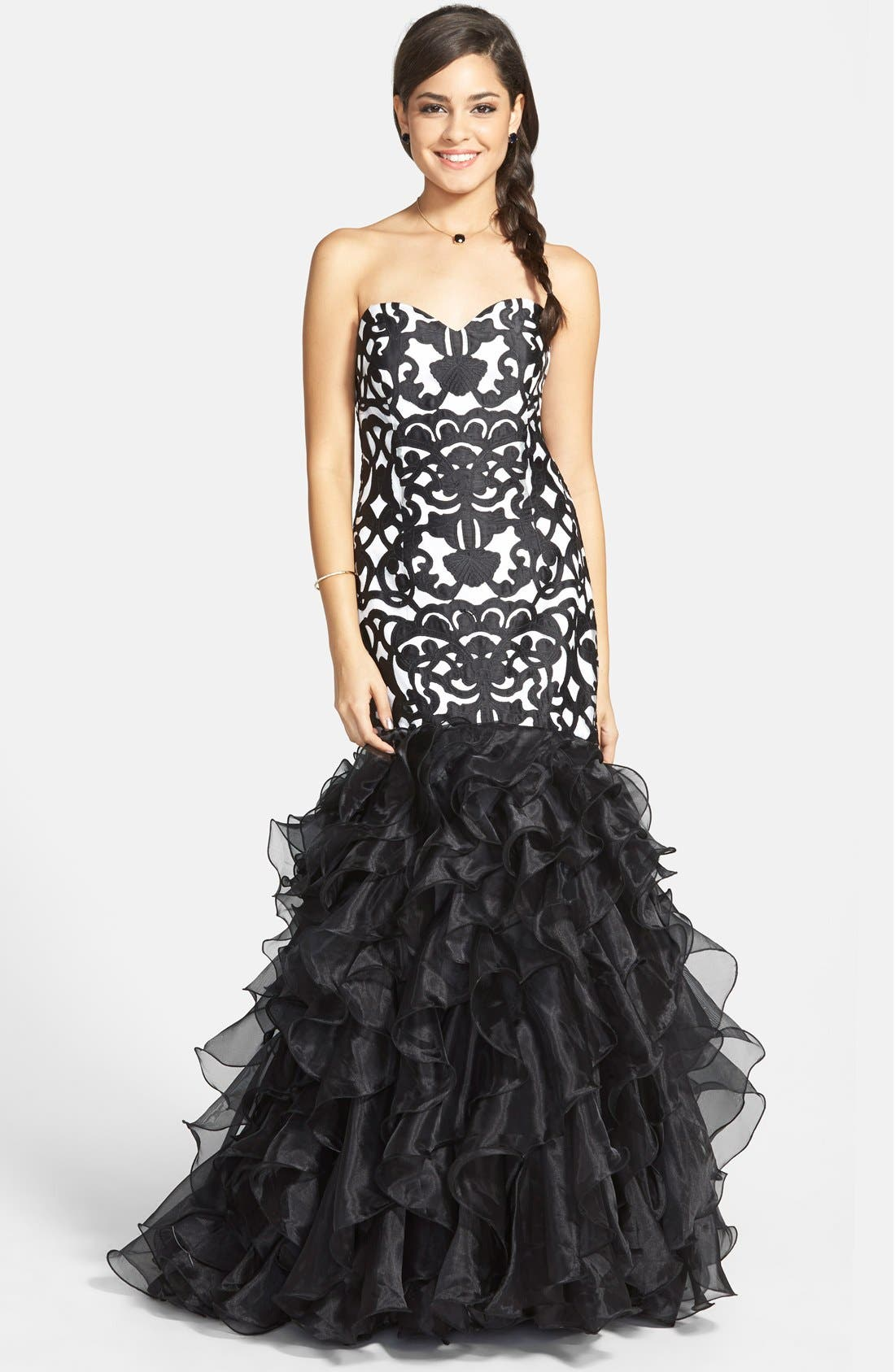 Alternate Image 1 Selected - Steppin Out Print Ruffle Mermaid Gown (Juniors)