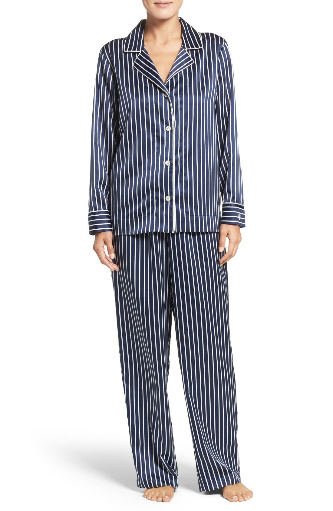 Alternate Image 1 Selected - Lauren Ralph Lauren Stripe Satin Pajamas