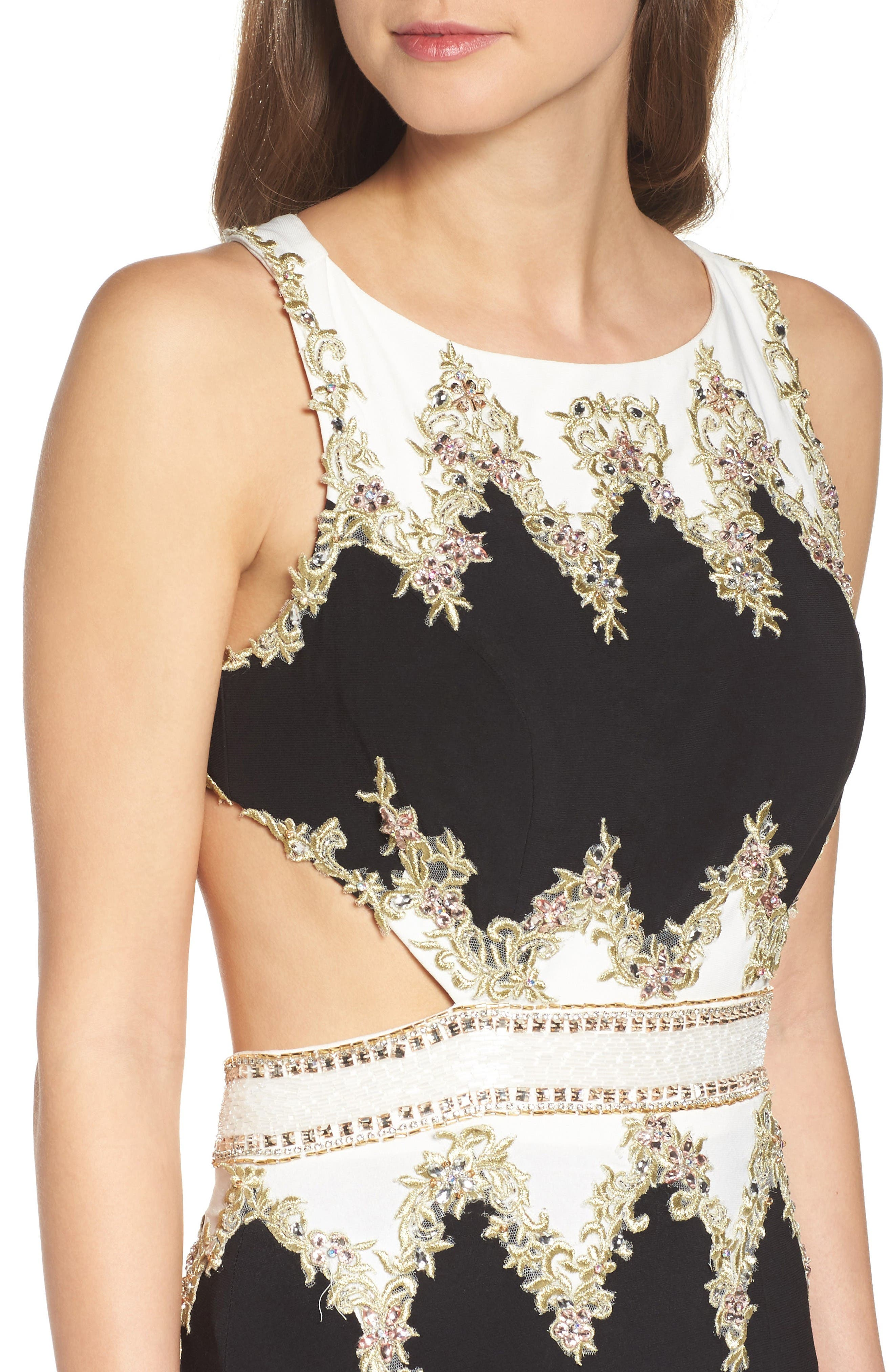 Embellished Cutout Jersey Gown,                             Alternate thumbnail 4, color,                             Black/ White