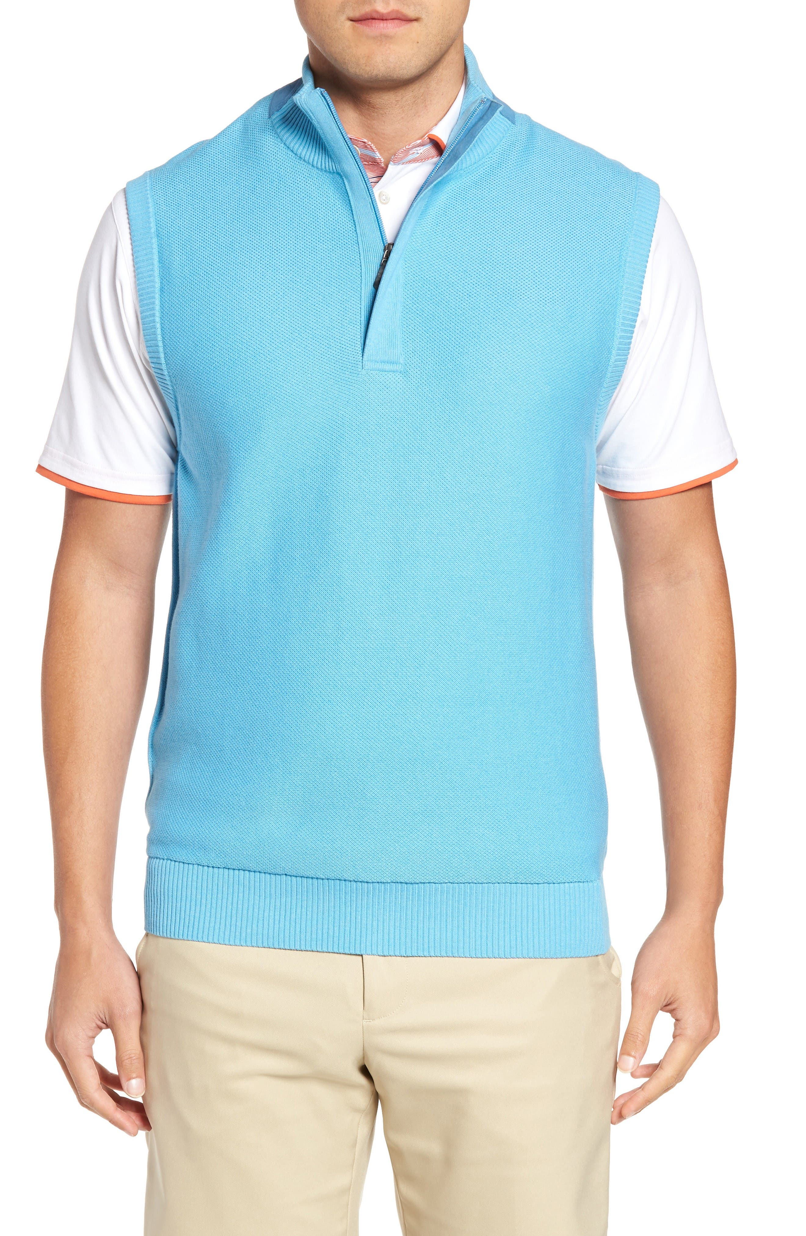 Main Image - Bobby Jones Piqué Jersey Quarter Zip Golf Vest