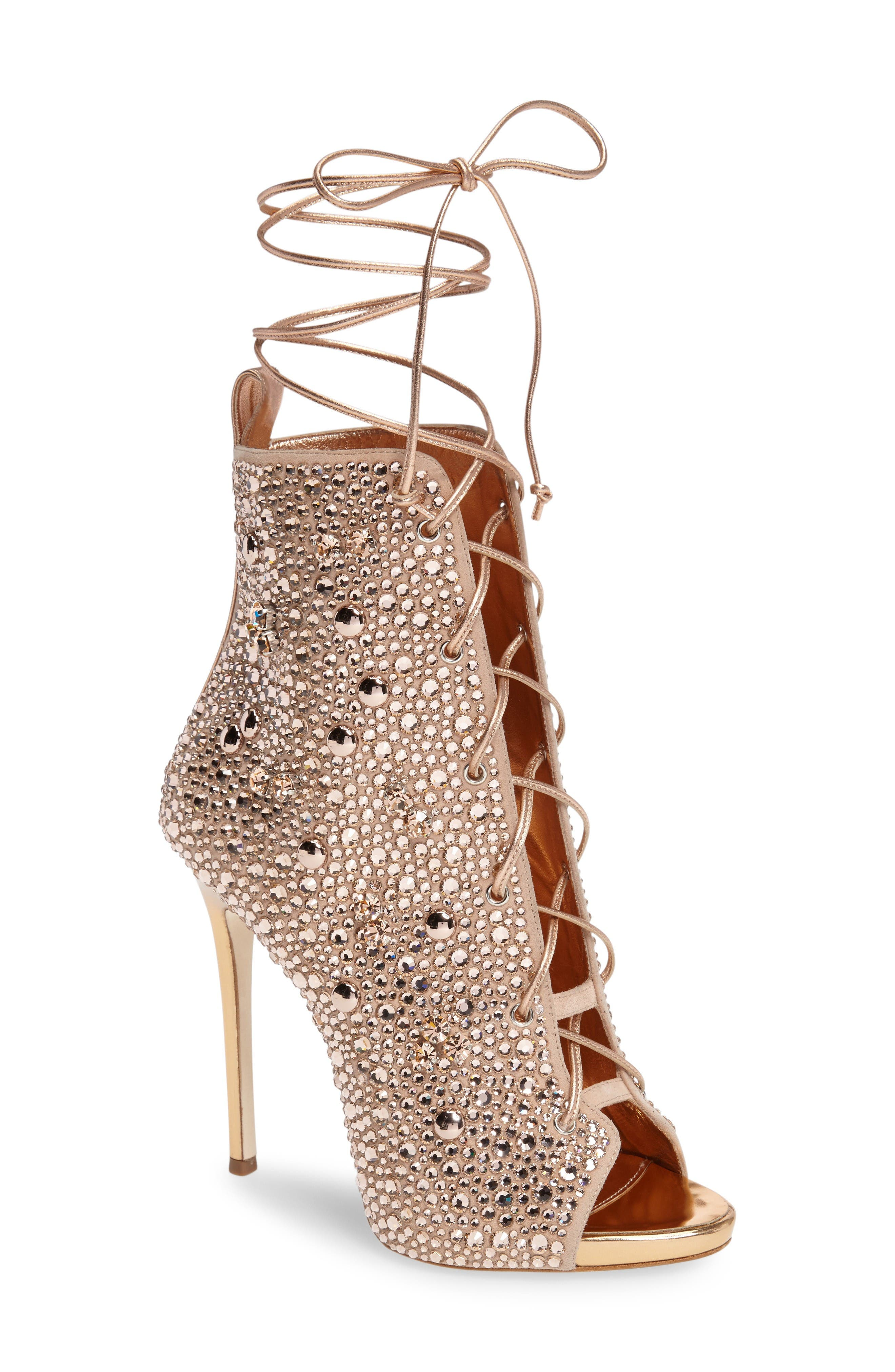 Giuseppe for Jennifer Lopez Lynda Embellished Lace-Up Sandal,                             Main thumbnail 1, color,                             Metallic Gold