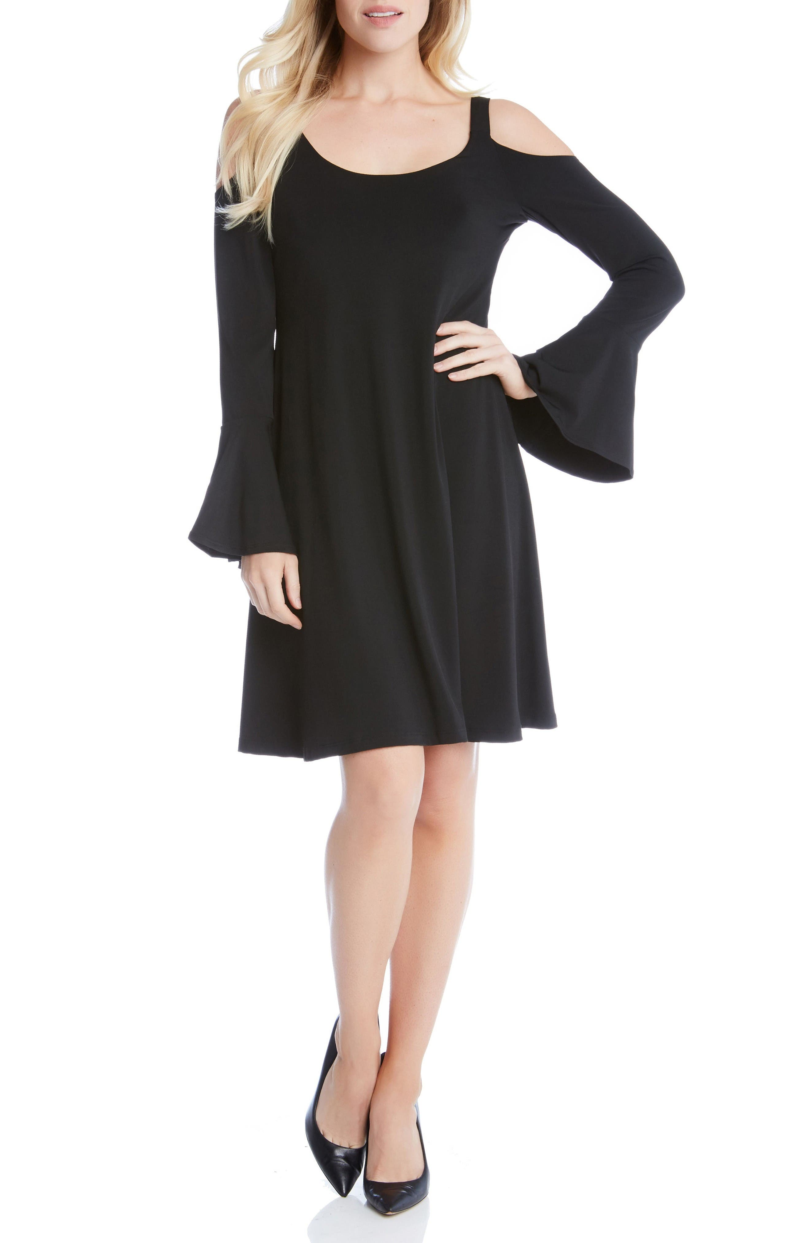 Cold Shoulder Bell Sleeve Dress,                         Main,                         color, Black