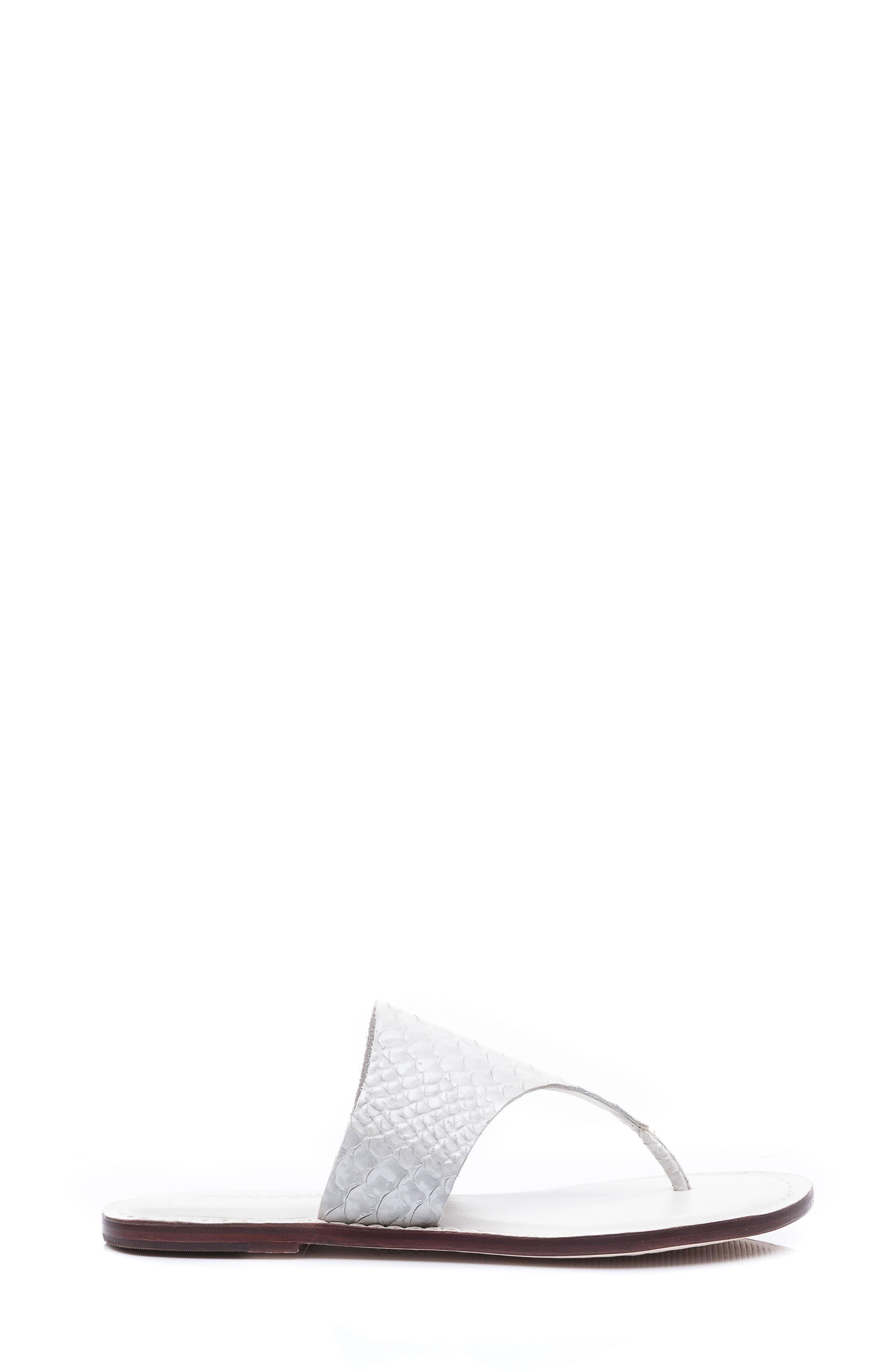 Bernardo Monica Thong Sandal,                             Alternate thumbnail 3, color,                             White Snake Print Leather