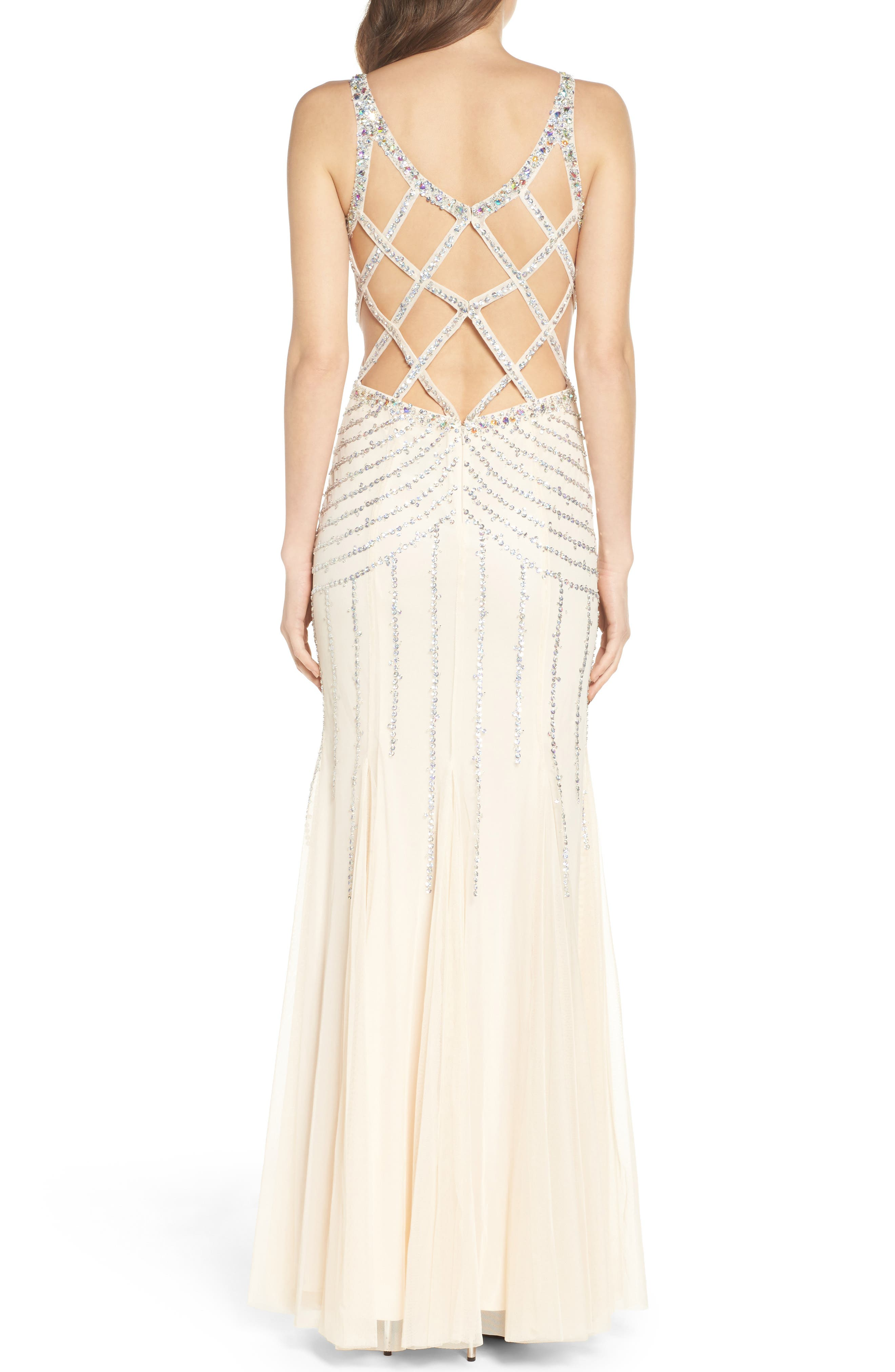 Alternate Image 2  - Sean Collection Embellished Mesh Mermaid Gown
