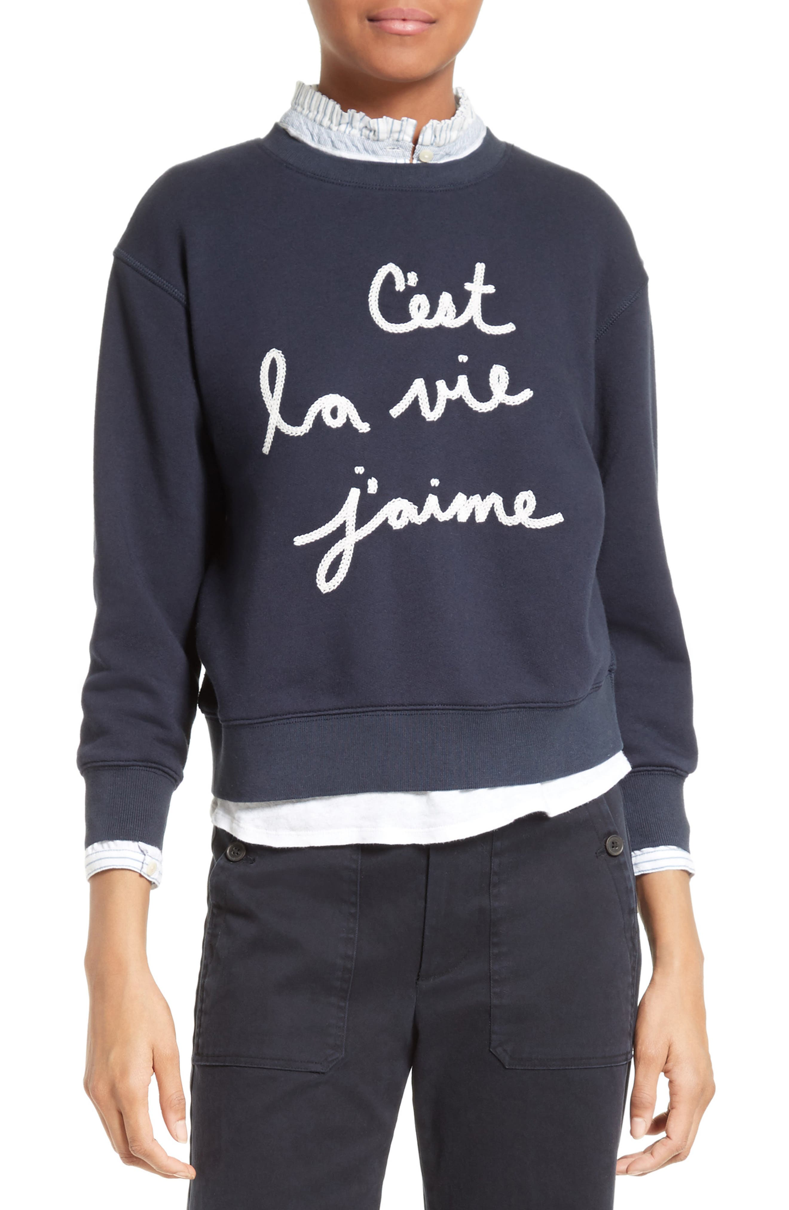Logo Embroidered French Terry Pullover,                         Main,                         color, Navy
