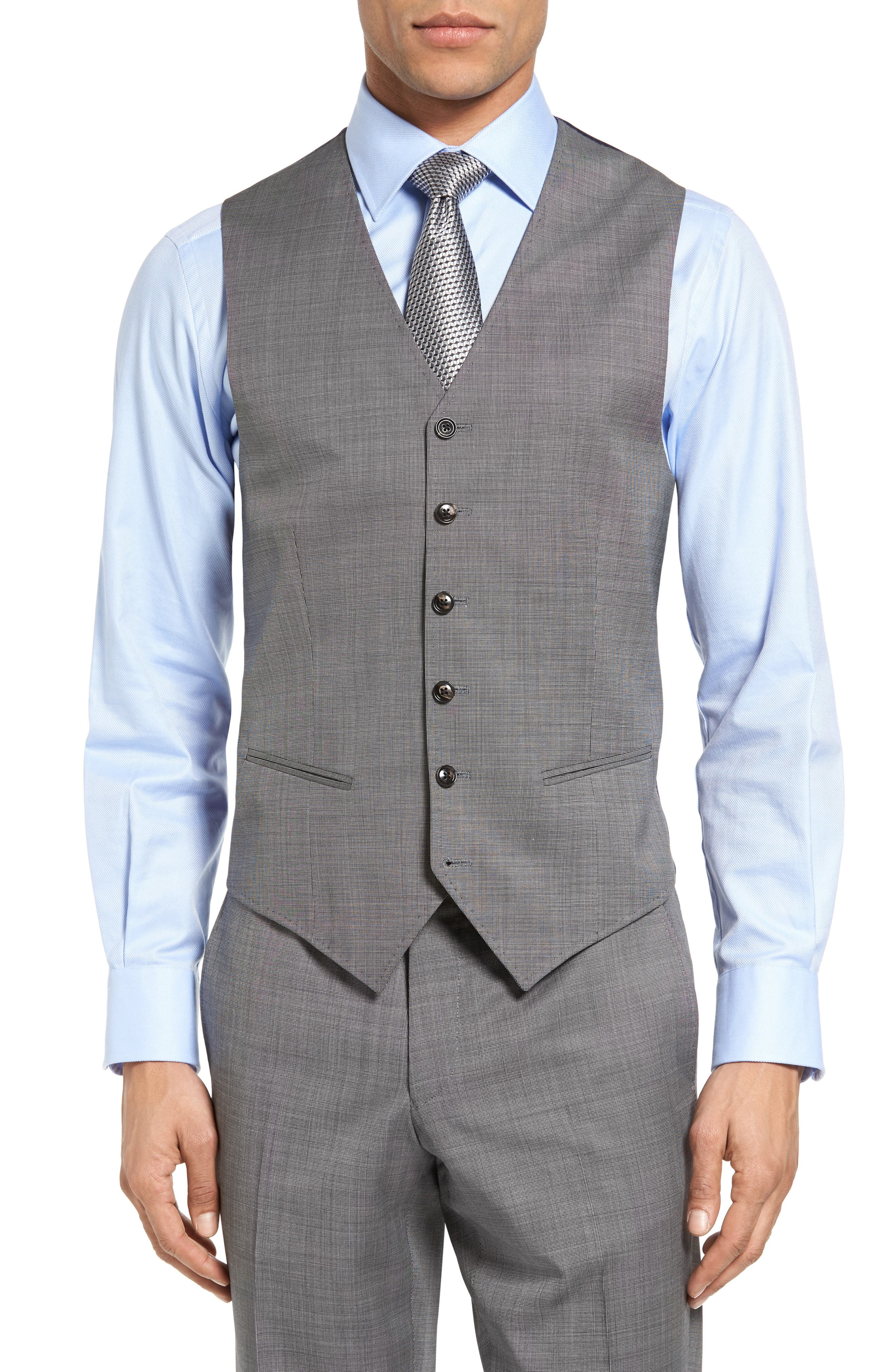 Jones Trim Fit Wool Vest,                         Main,                         color, Light Grey