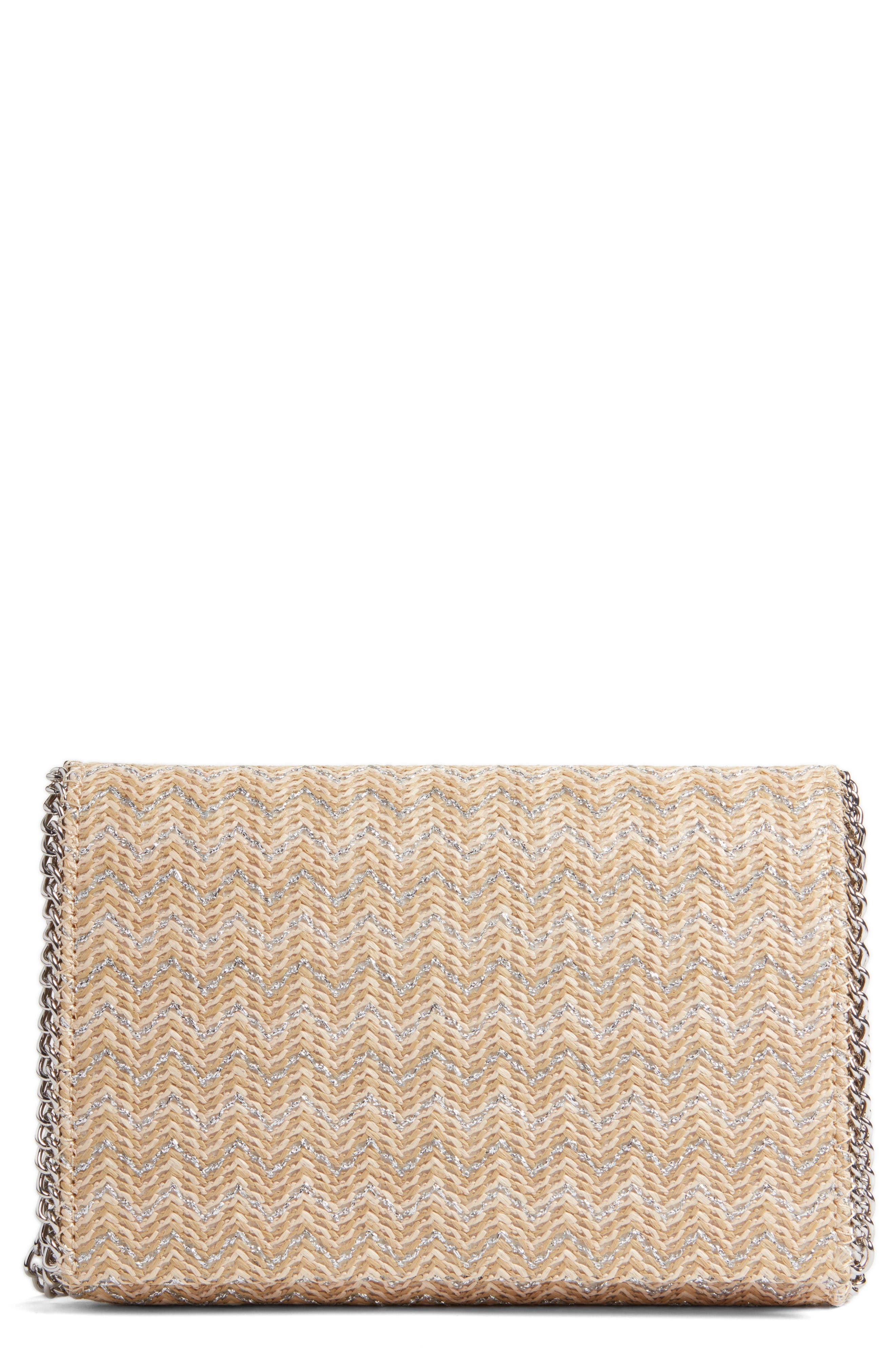 Stripe Straw Convertible Clutch,                             Main thumbnail 1, color,                             Natural- Silver Chevron