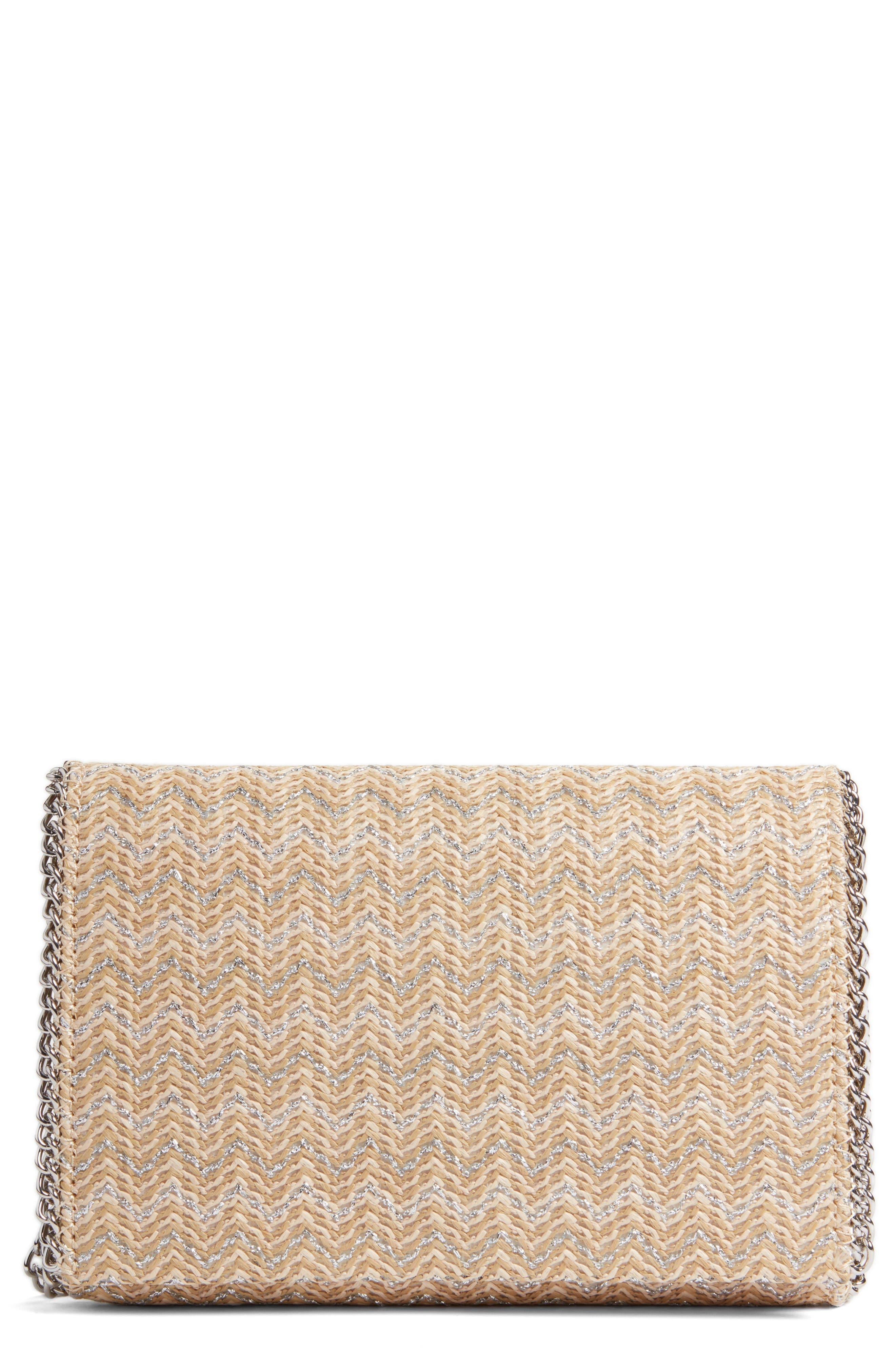 Stripe Straw Convertible Clutch,                         Main,                         color, Natural- Silver Chevron