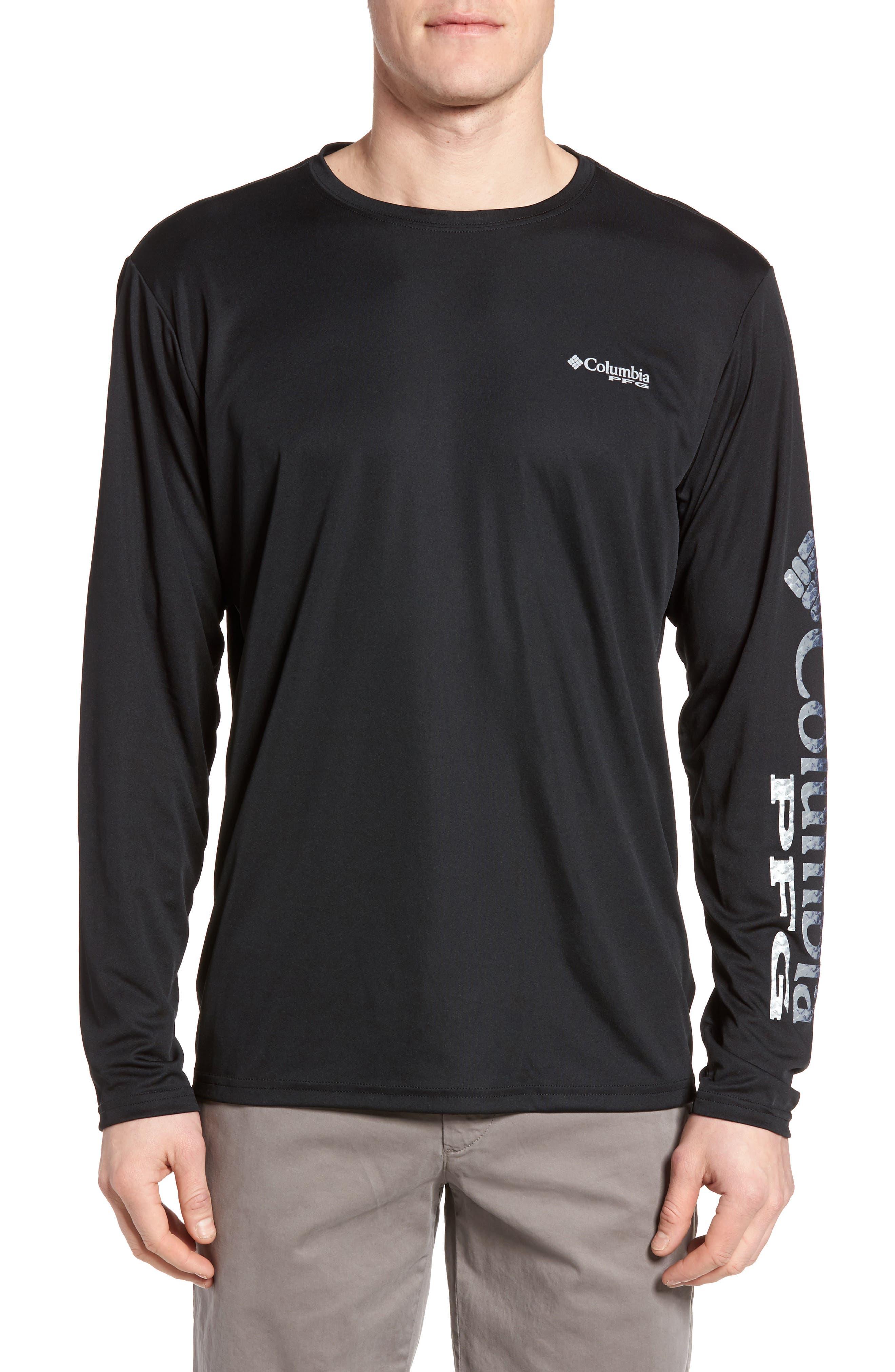 PFG Terminal Tackle Performance Long Sleeve T-Shirt,                         Main,                         color, Black Gulf Stream Logo