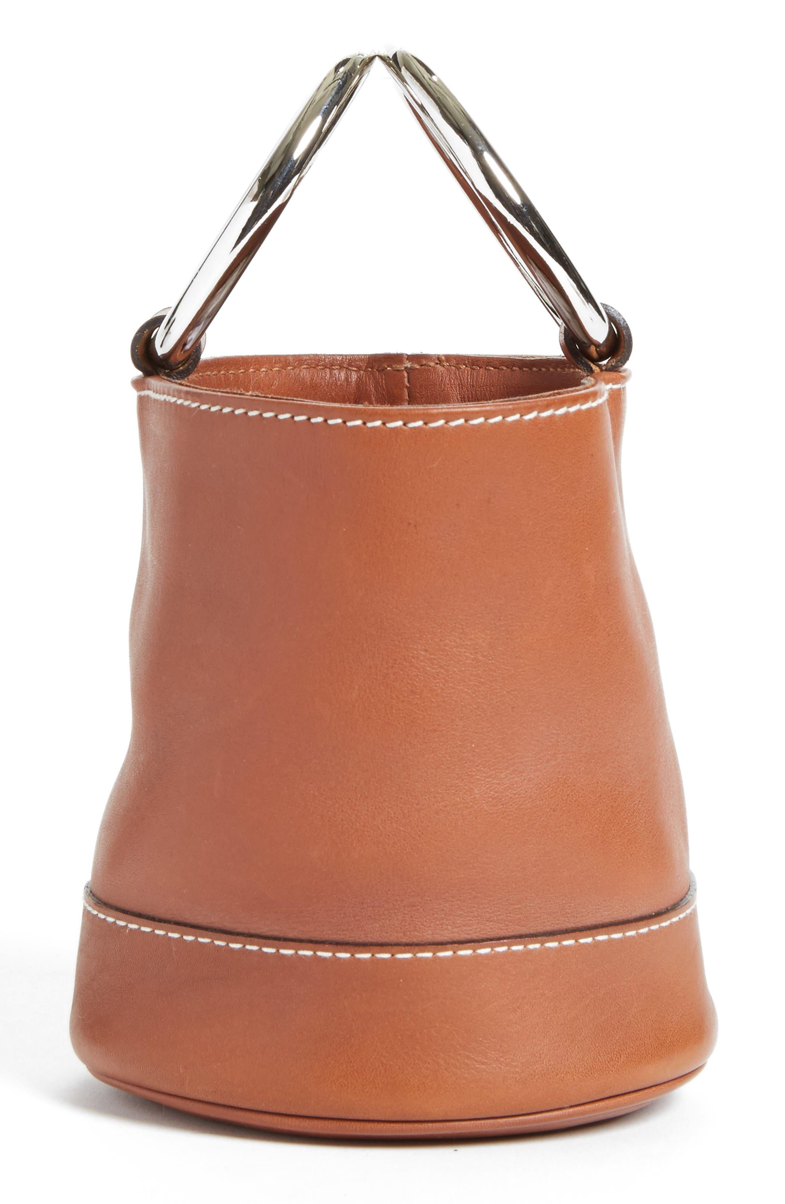 Bonsai Pebbled Leather Bucket Bag,                             Alternate thumbnail 5, color,                             Tan