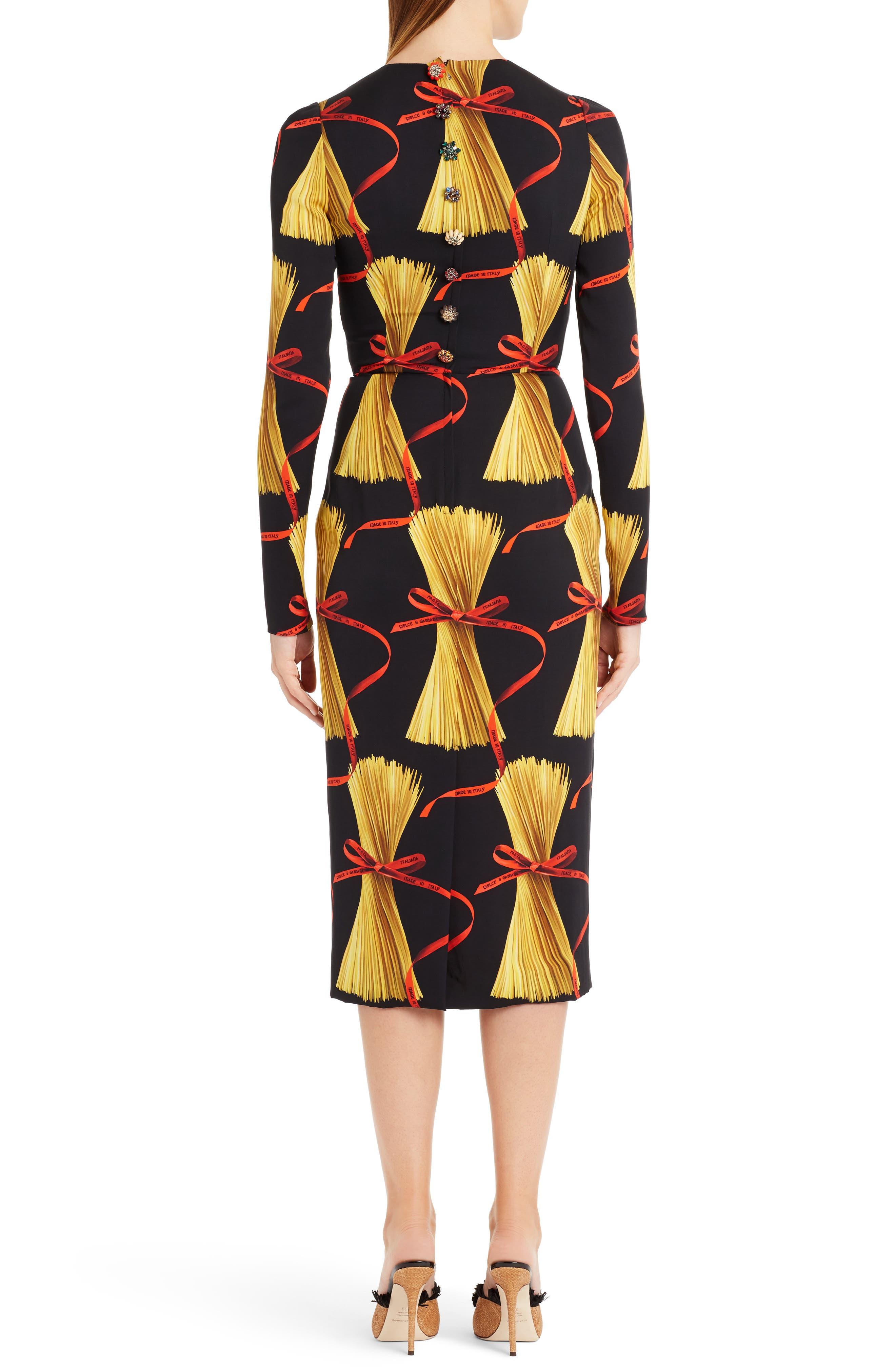 Alternate Image 2  - Dolce&Gabbana Pasta Print Stretch Silk Dress