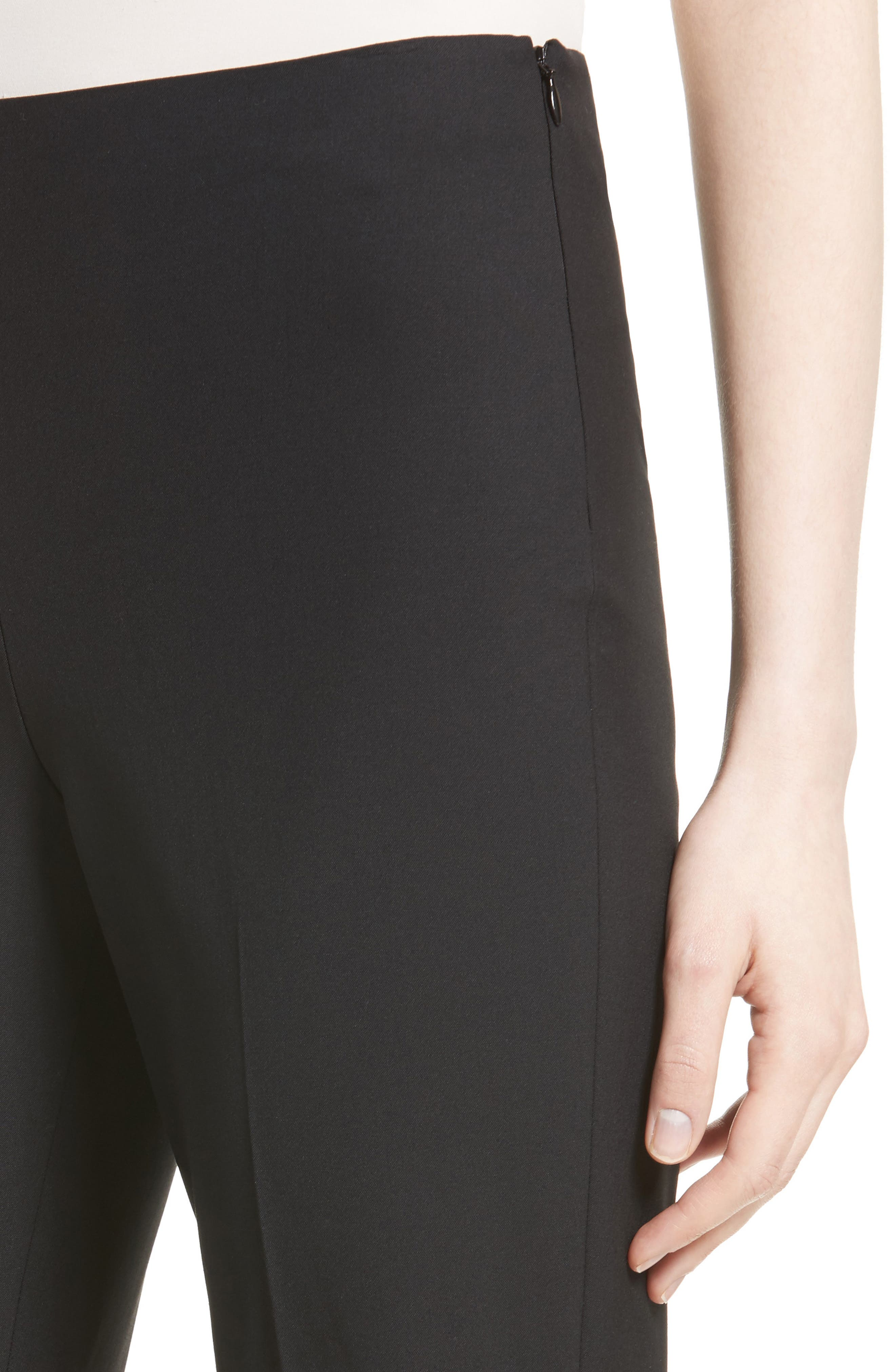 Demitria Flare Leg Good Wool Suit Pants,                             Alternate thumbnail 4, color,                             Black