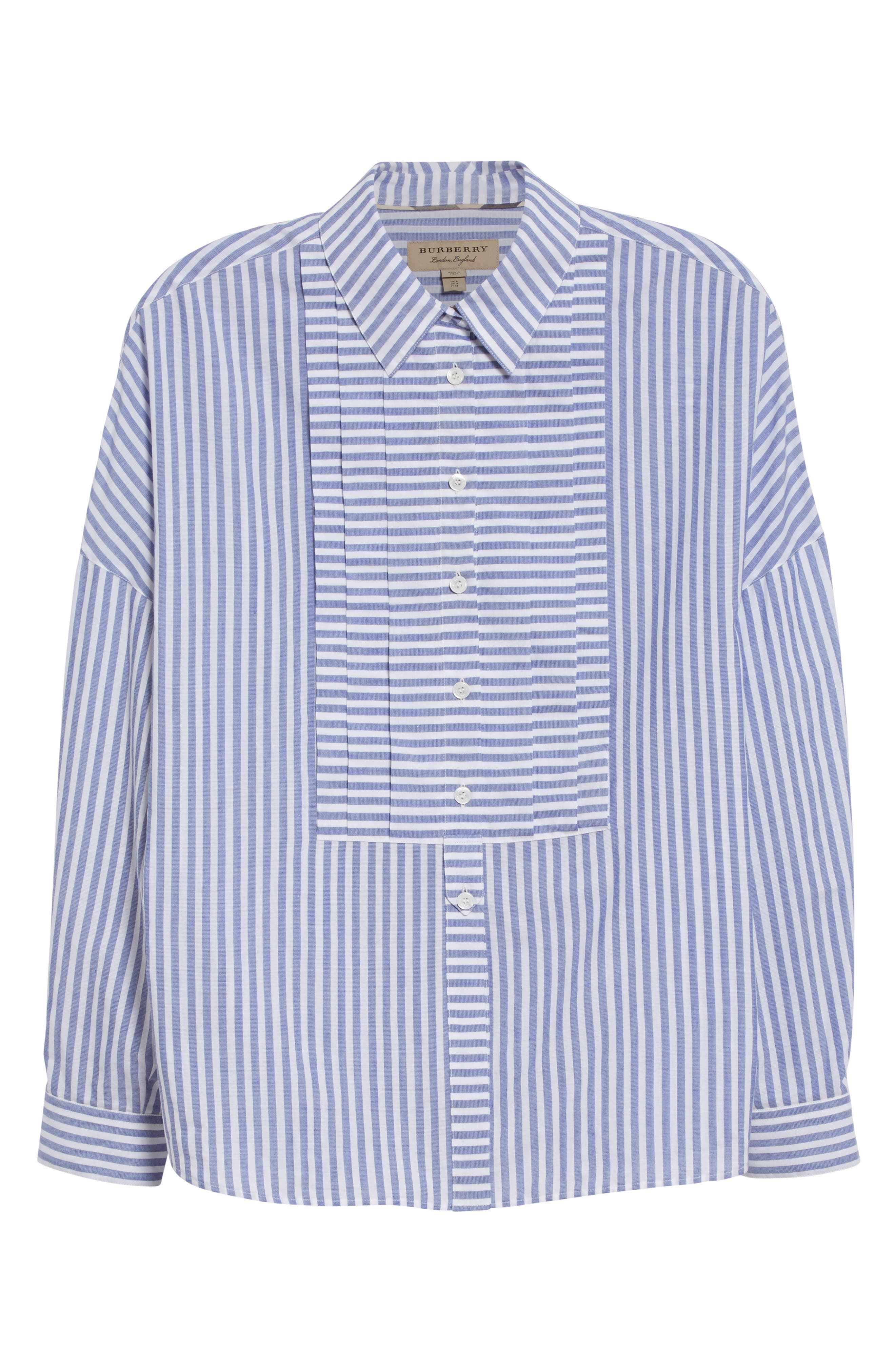 Posy Stripe Bib Boyfriend Shirt,                             Alternate thumbnail 4, color,                             Pale Blue/ White