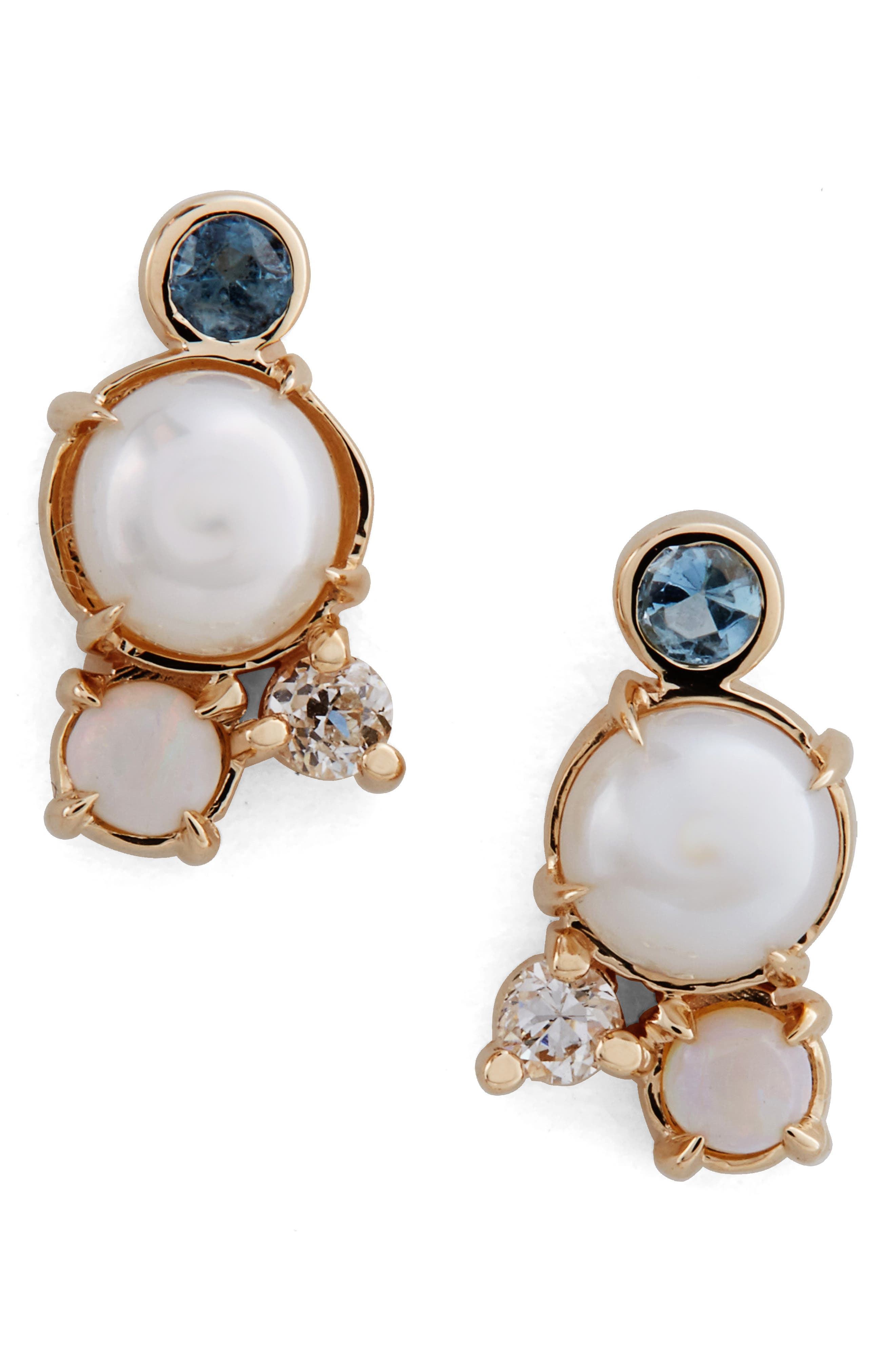 Pearl, Aquamarine, Opal & Diamond Earrings,                         Main,                         color, Yellow White