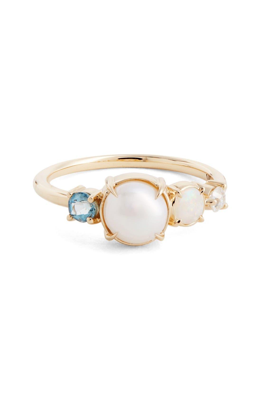 Pearl, Opal, Aquamarine & Diamond Ring,                             Main thumbnail 1, color,                             Yellow White