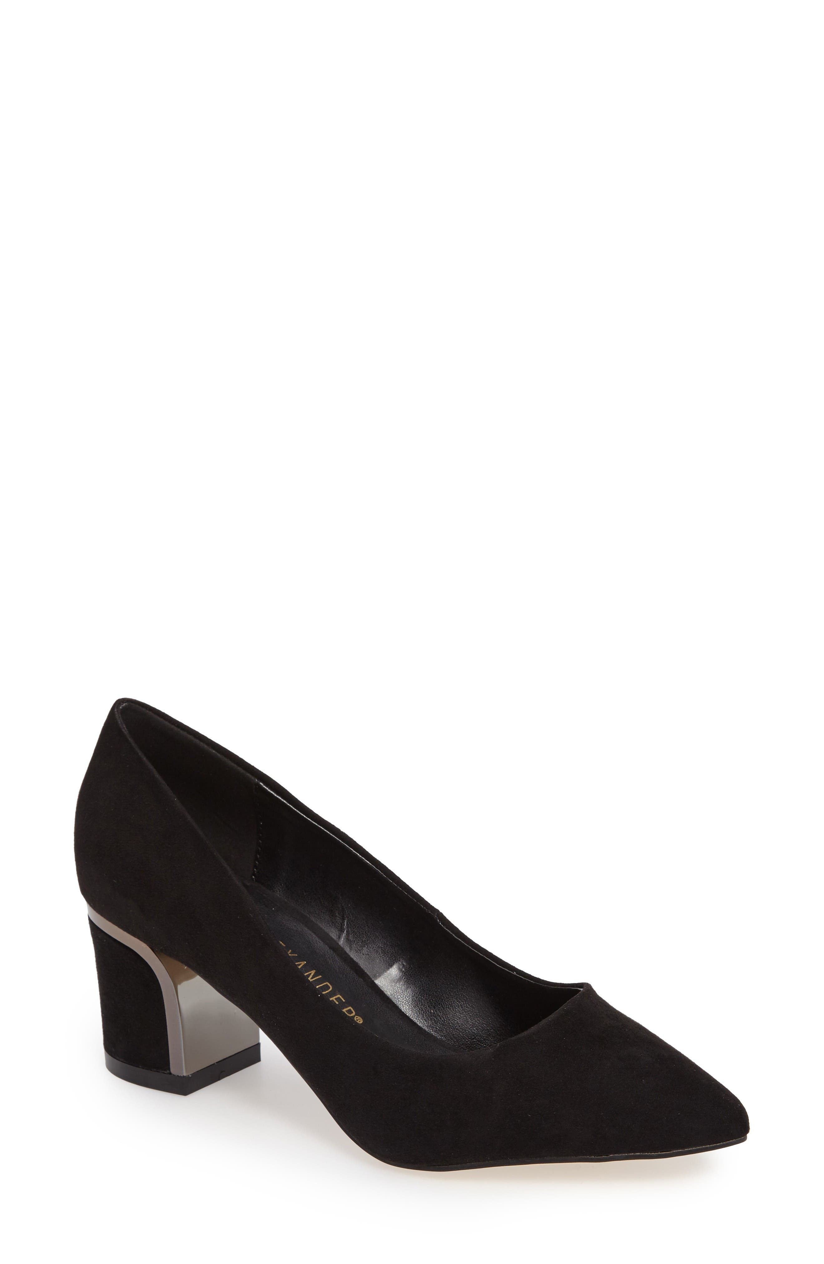 Zabel Embellished Block Heel Pump,                             Main thumbnail 1, color,                             Black Faux Suede