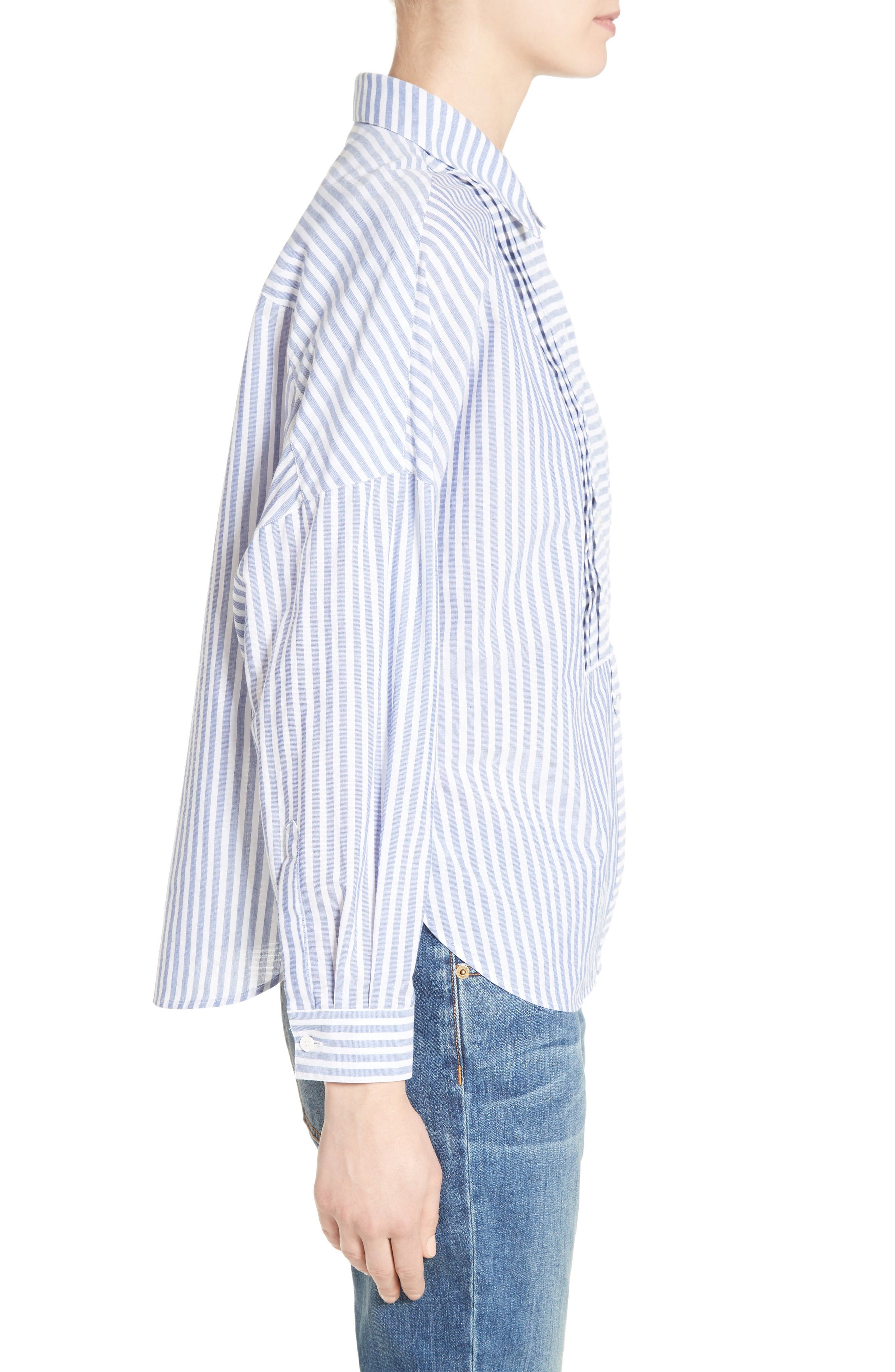Posy Stripe Bib Boyfriend Shirt,                             Alternate thumbnail 5, color,                             Pale Blue/ White
