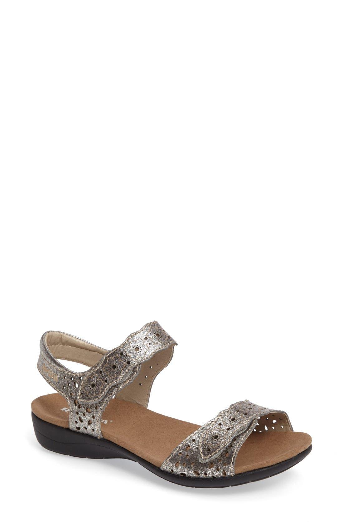 'Tahiti 03' Quarter Strap Sandal,                             Main thumbnail 1, color,                             Anthracite Leather