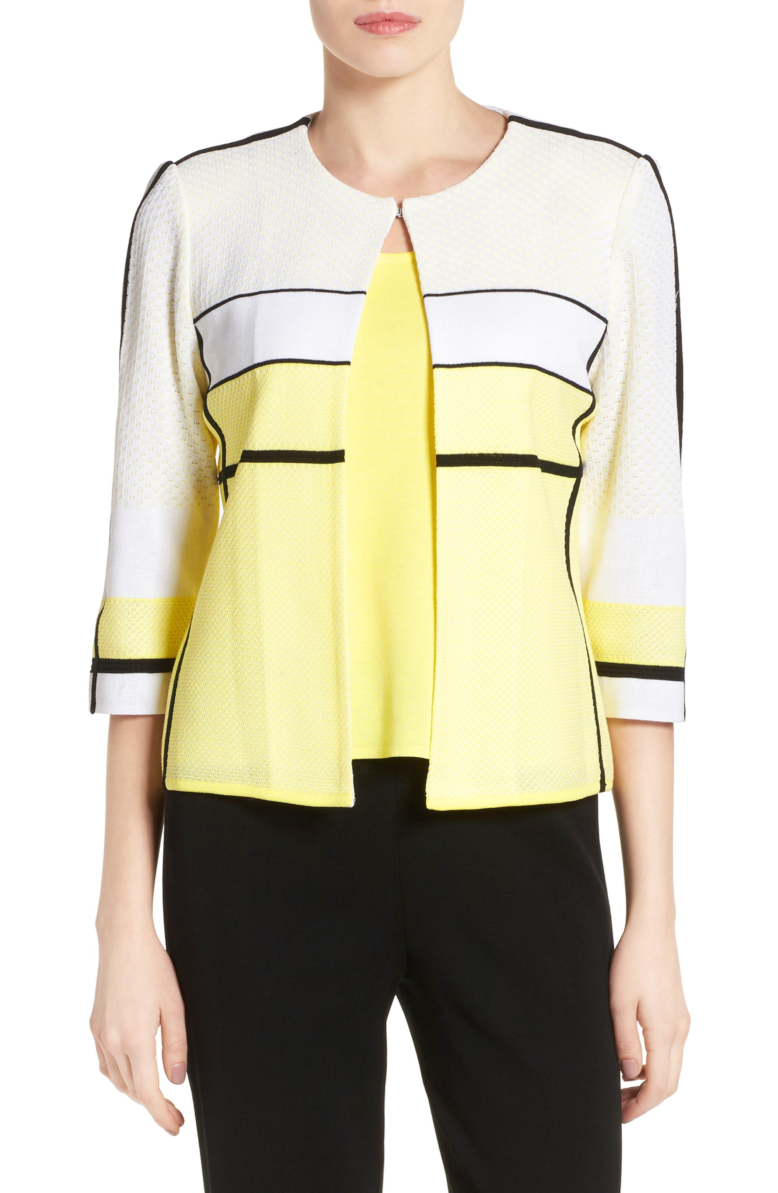 MING WANG Colorblock Stripe Short Knit Jacket