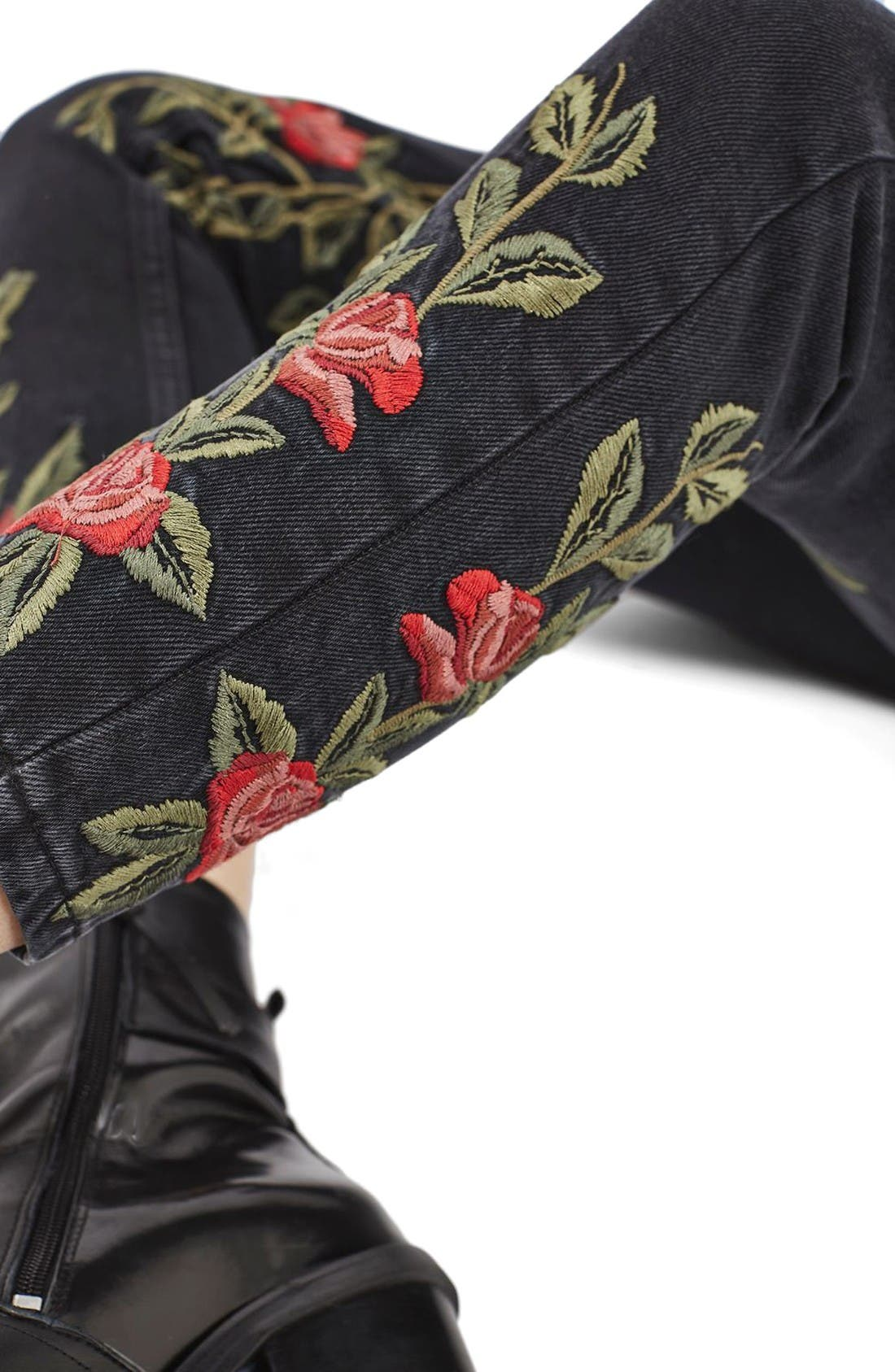 Mom Rose Embroidered Jeans,                             Alternate thumbnail 5, color,                             Washed Black Multi