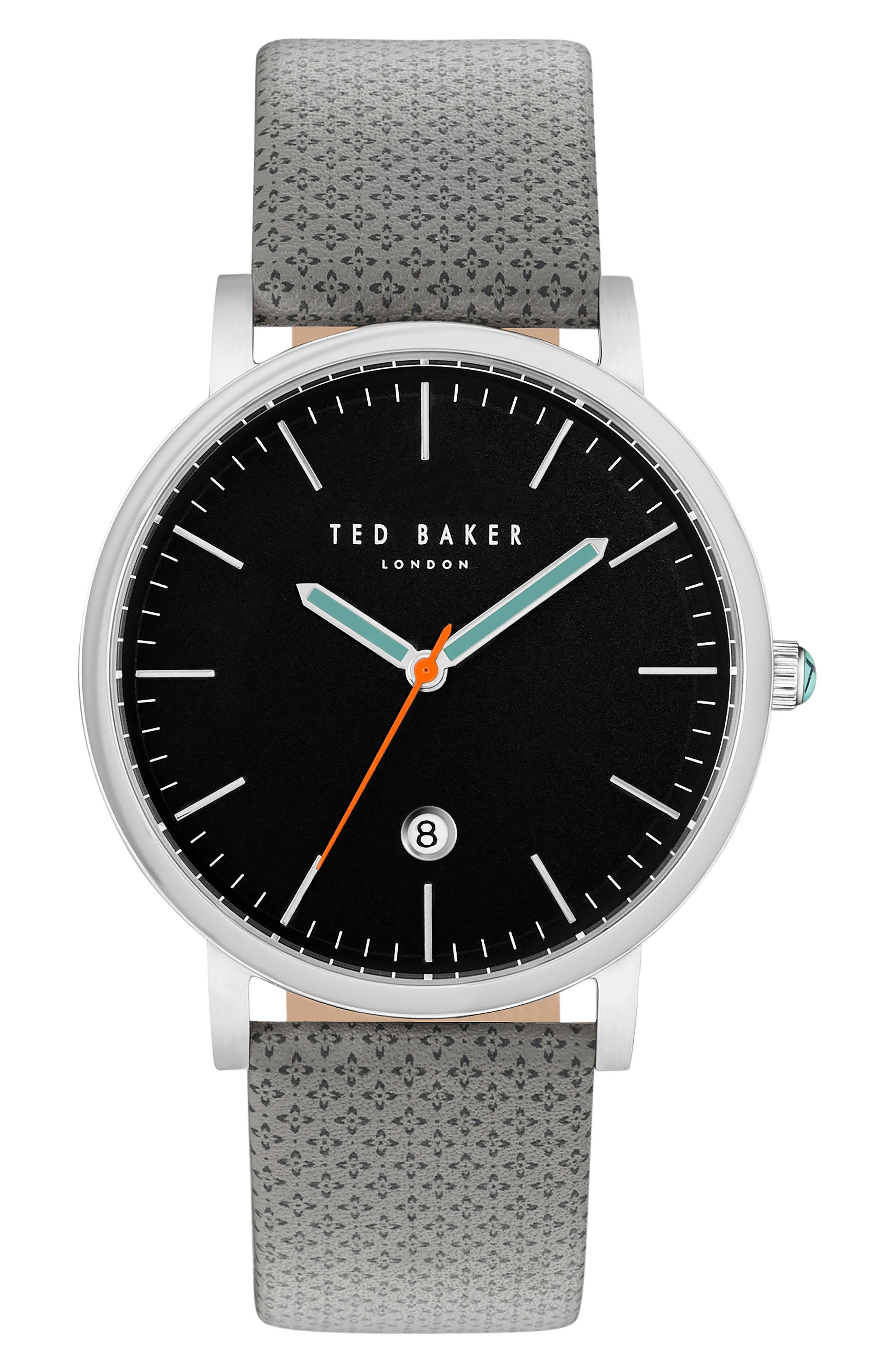 Ted Baker London Graham Leather Strap Watch, 42mm