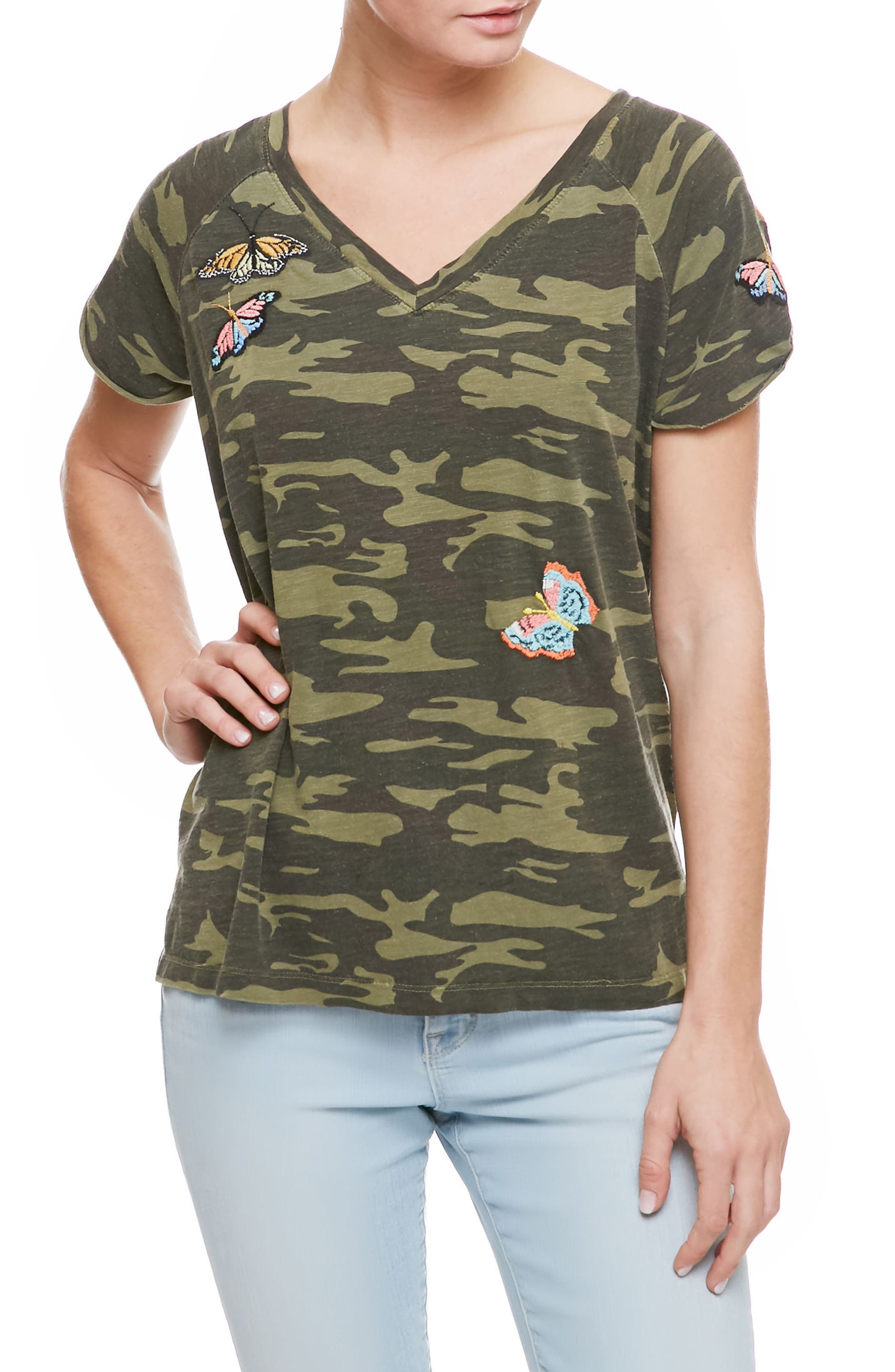 Sanctuary Butterfly Patch Camo Tee