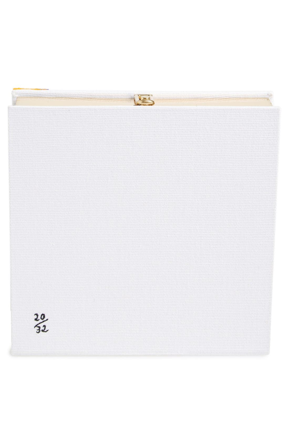 Square Face Book Clutch,                             Alternate thumbnail 2, color,                             White