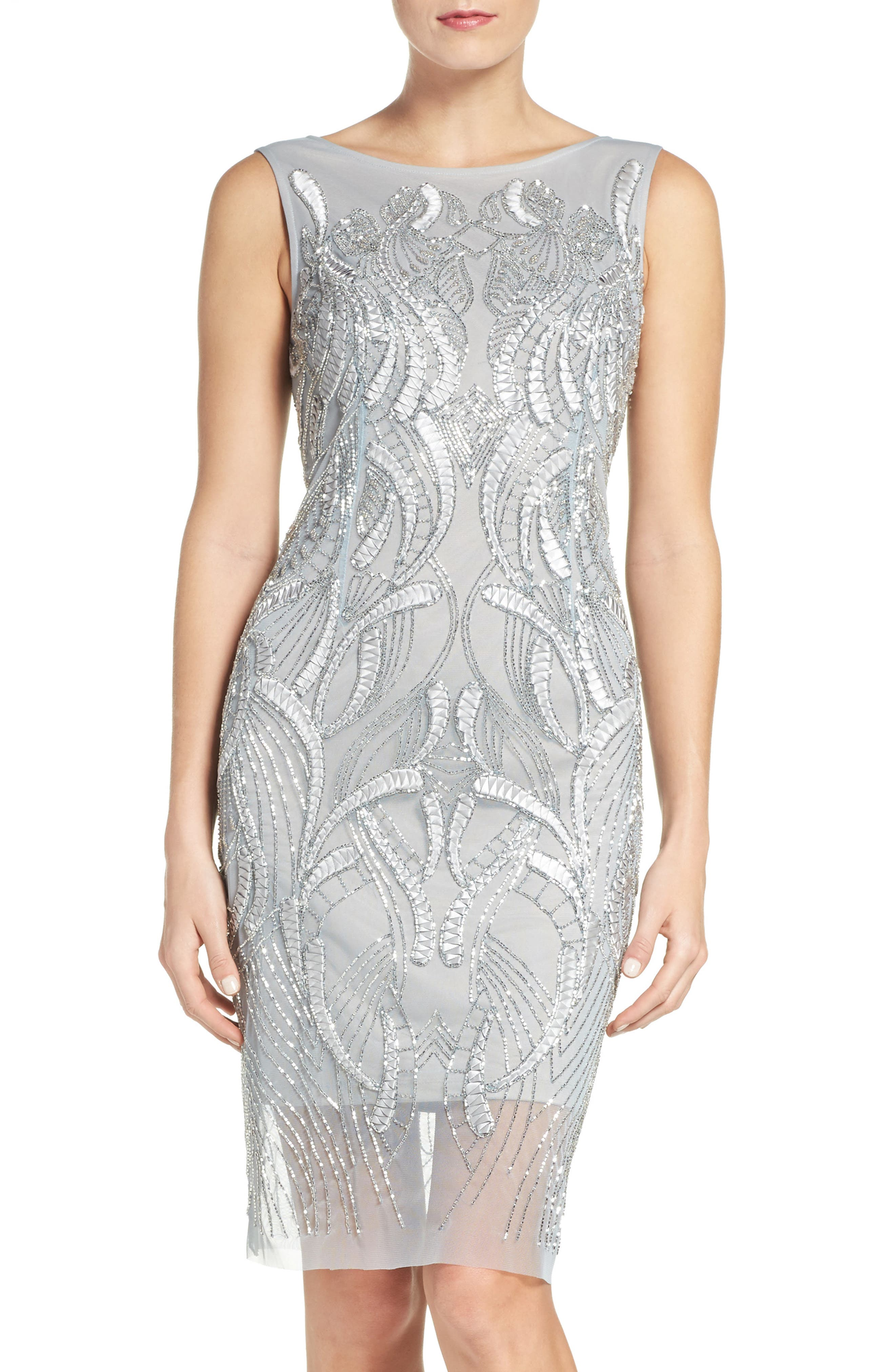 Beaded Sheath Dress,                         Main,                         color, Blue Heather