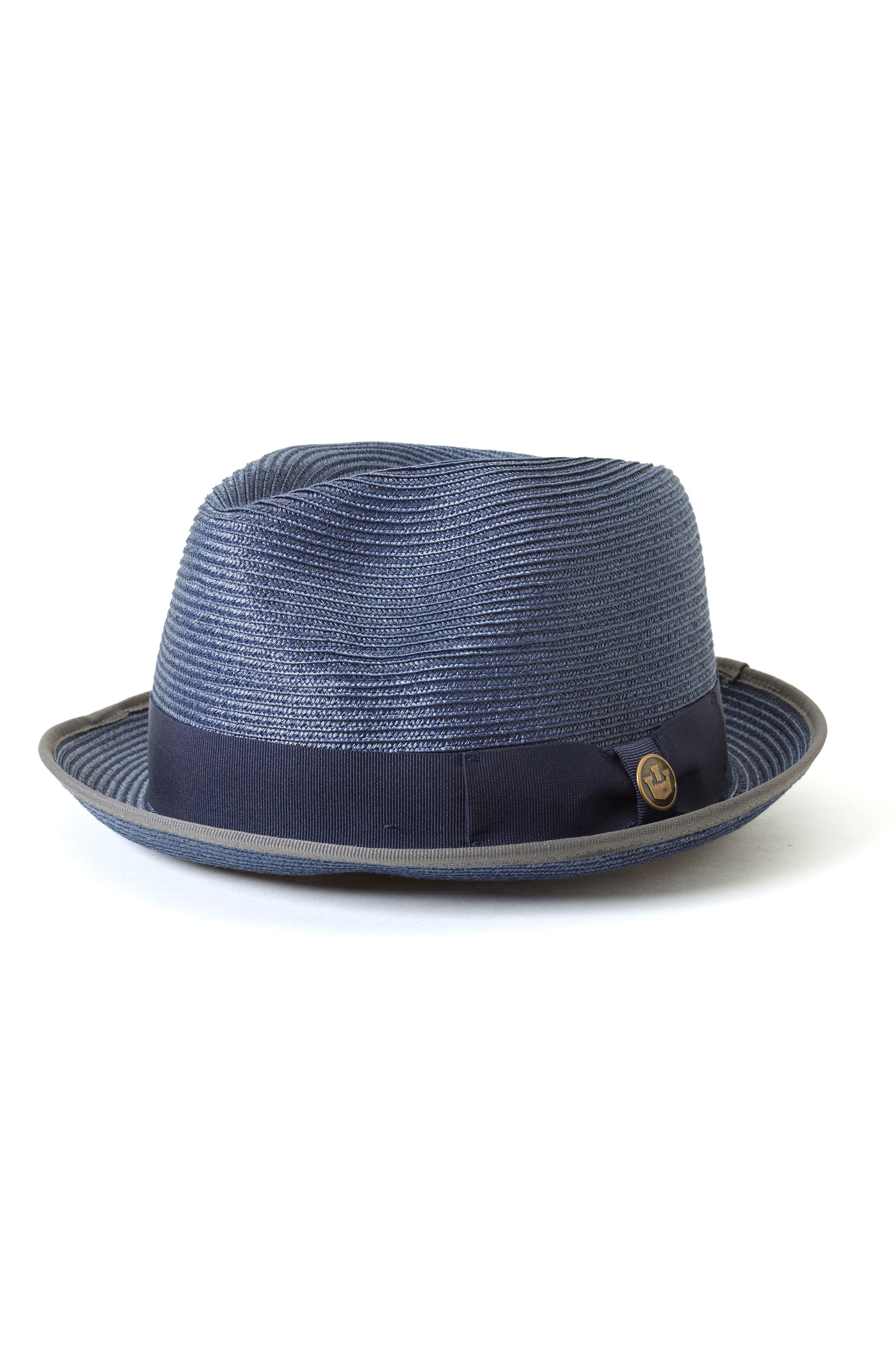 Base Line Water Resistant Fedora,                             Main thumbnail 1, color,                             Navy