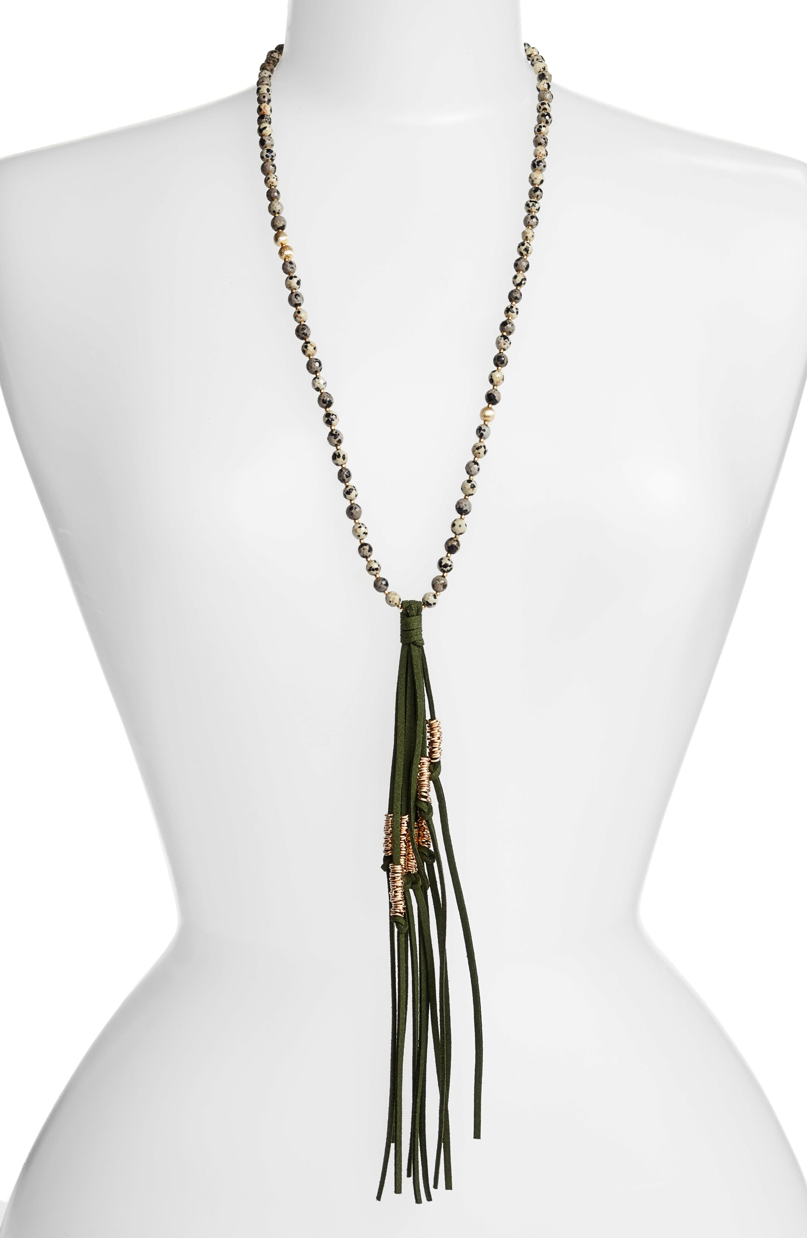 Love's Affect Semiprecious Stone Tassel Necklace