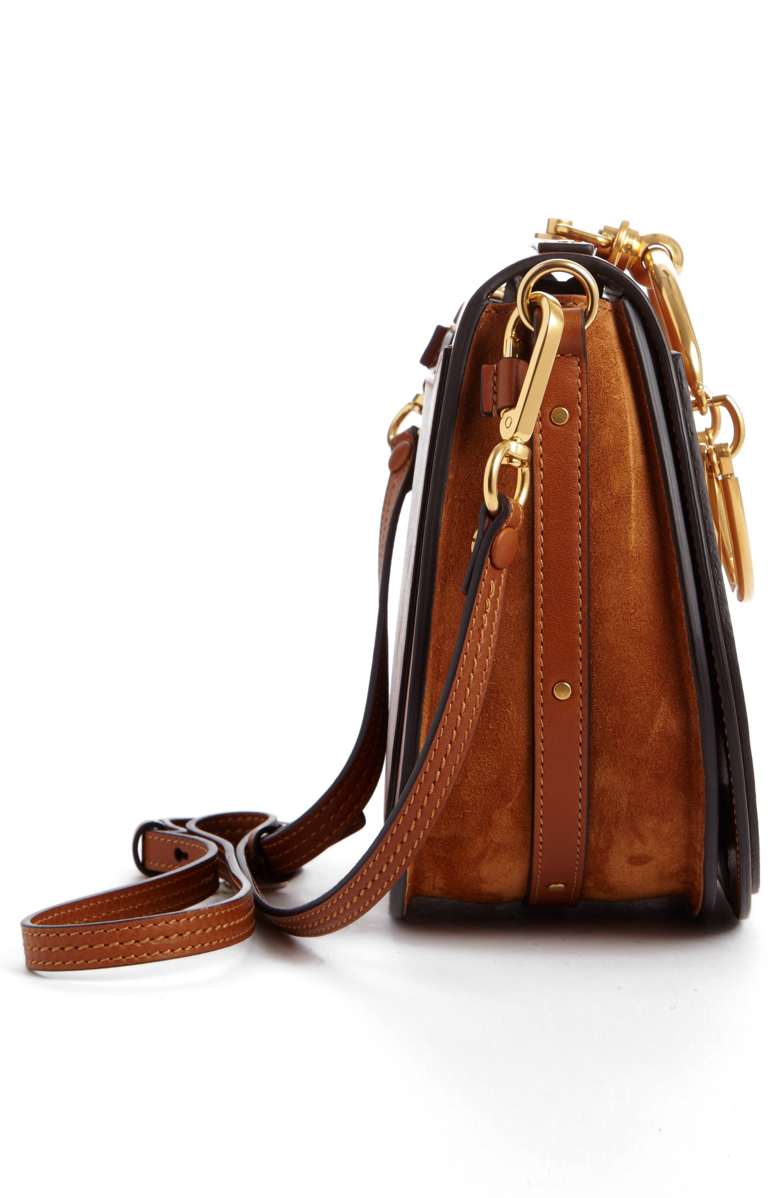 Medium Nile Leather Bracelet Saddle Bag,                             Alternate thumbnail 3, color,                             Bdu Caramel