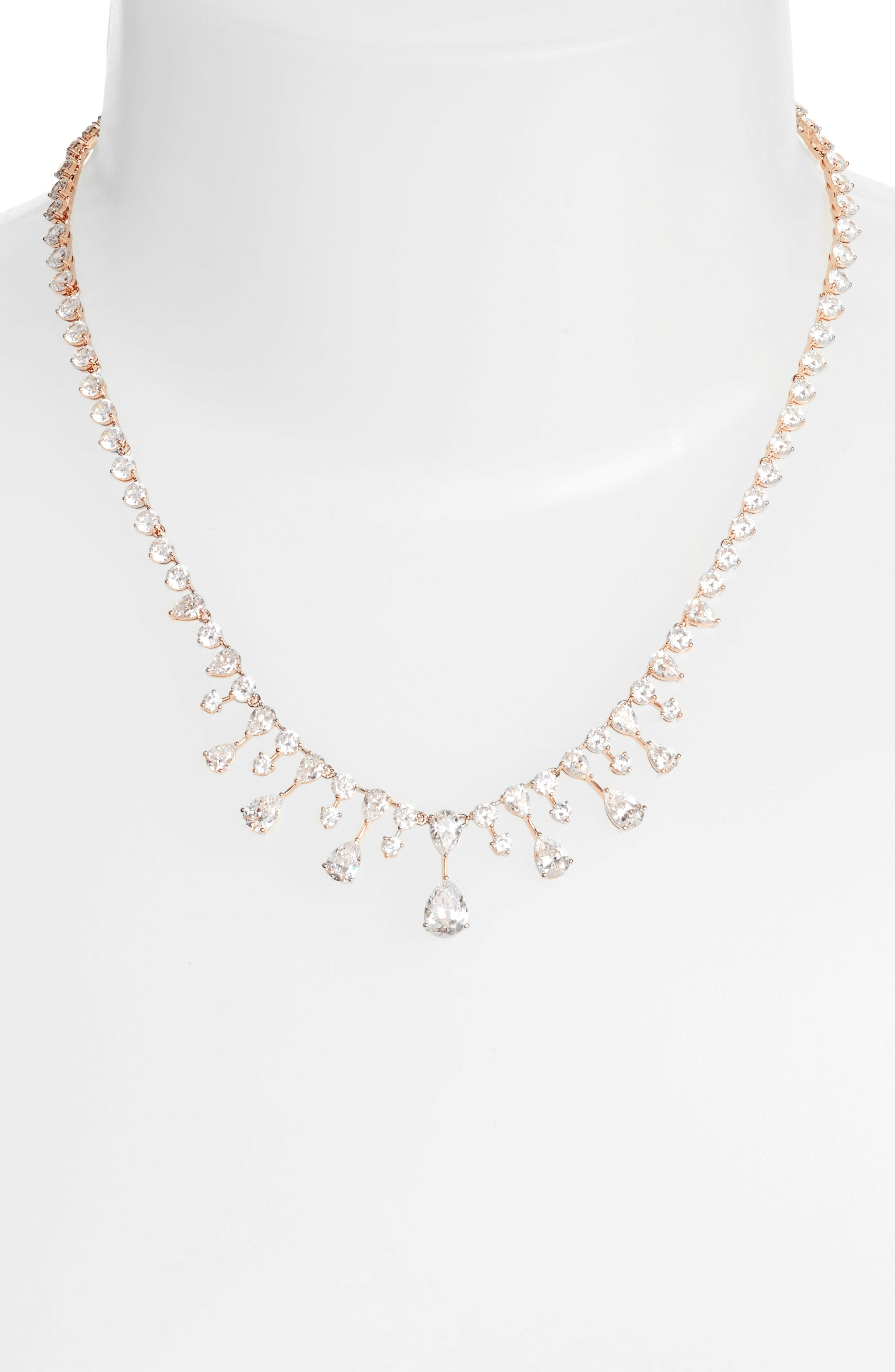 Audrey Crystal Collar Necklace,                             Alternate thumbnail 2, color,                             Rose Gold