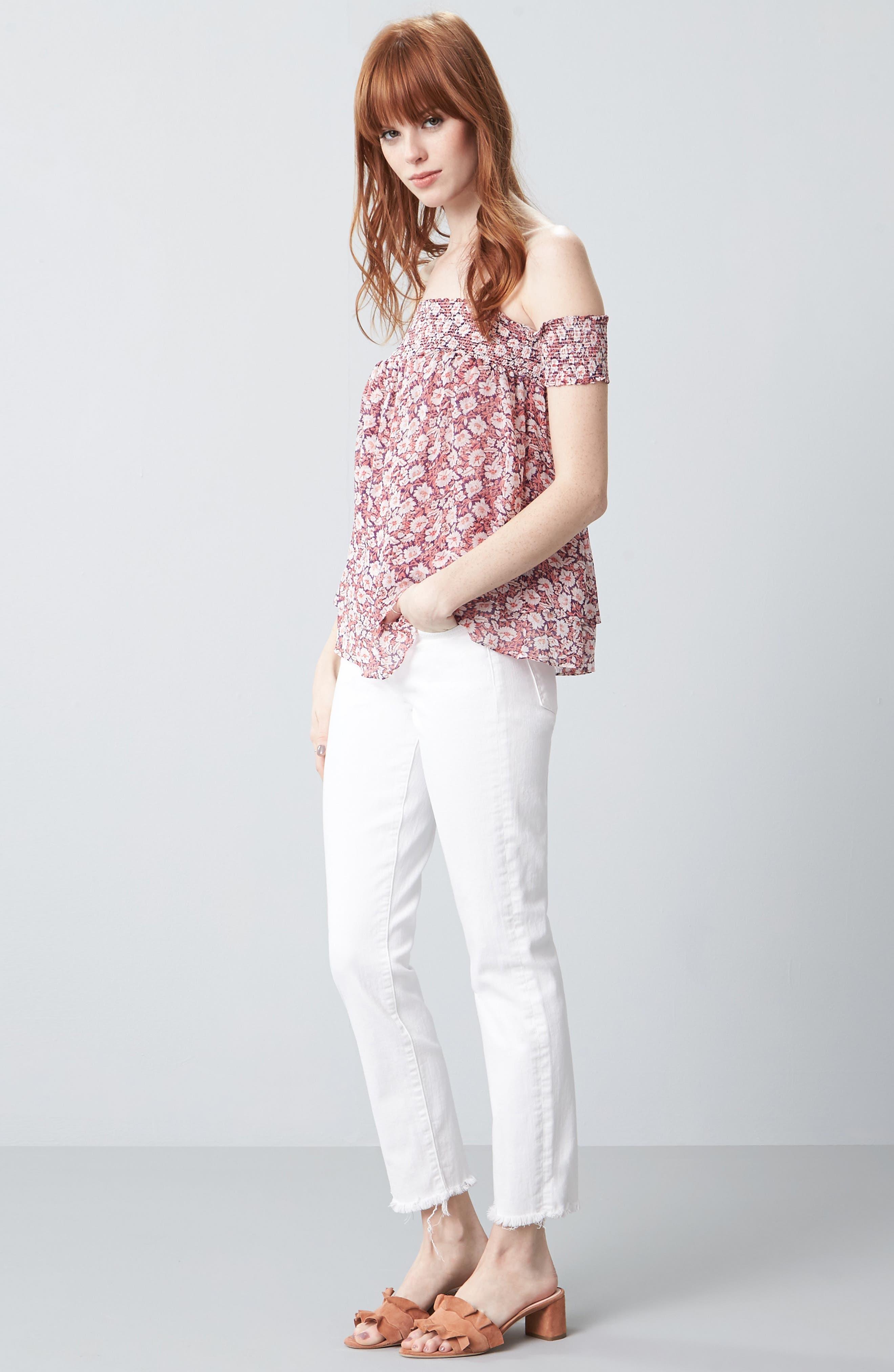 Roxanne Ankle Straight Leg Jeans,                             Alternate thumbnail 2, color,                             White Fashion