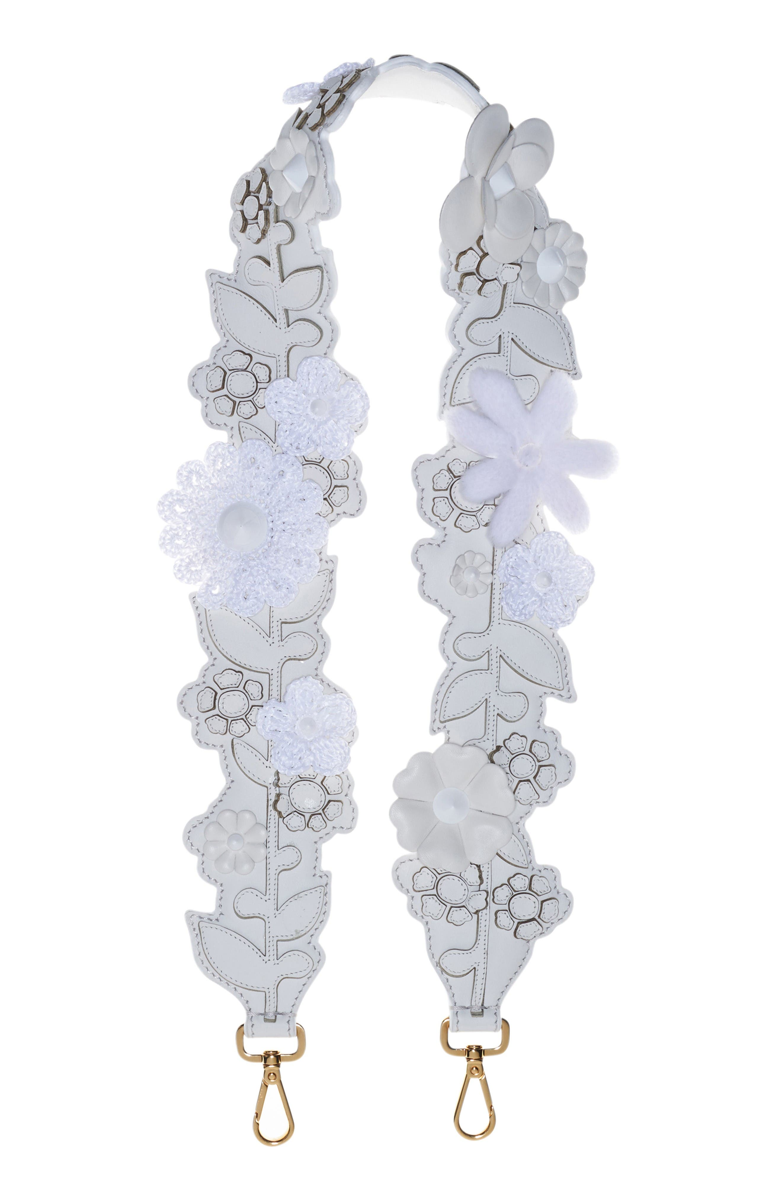 Alternate Image 1 Selected - Fendi Floral Appliqué Leather Guitar Bag Strap