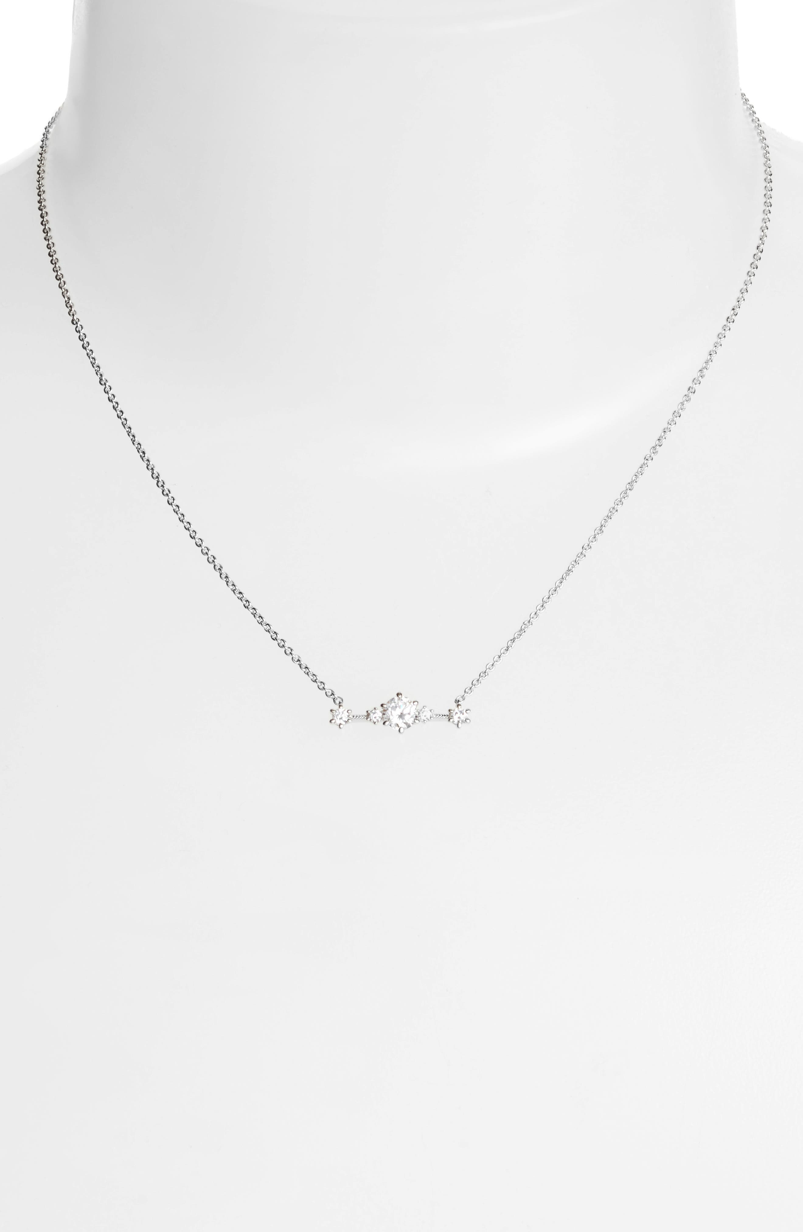 Edwardian Crystal Bar Necklace,                             Alternate thumbnail 2, color,                             Silver
