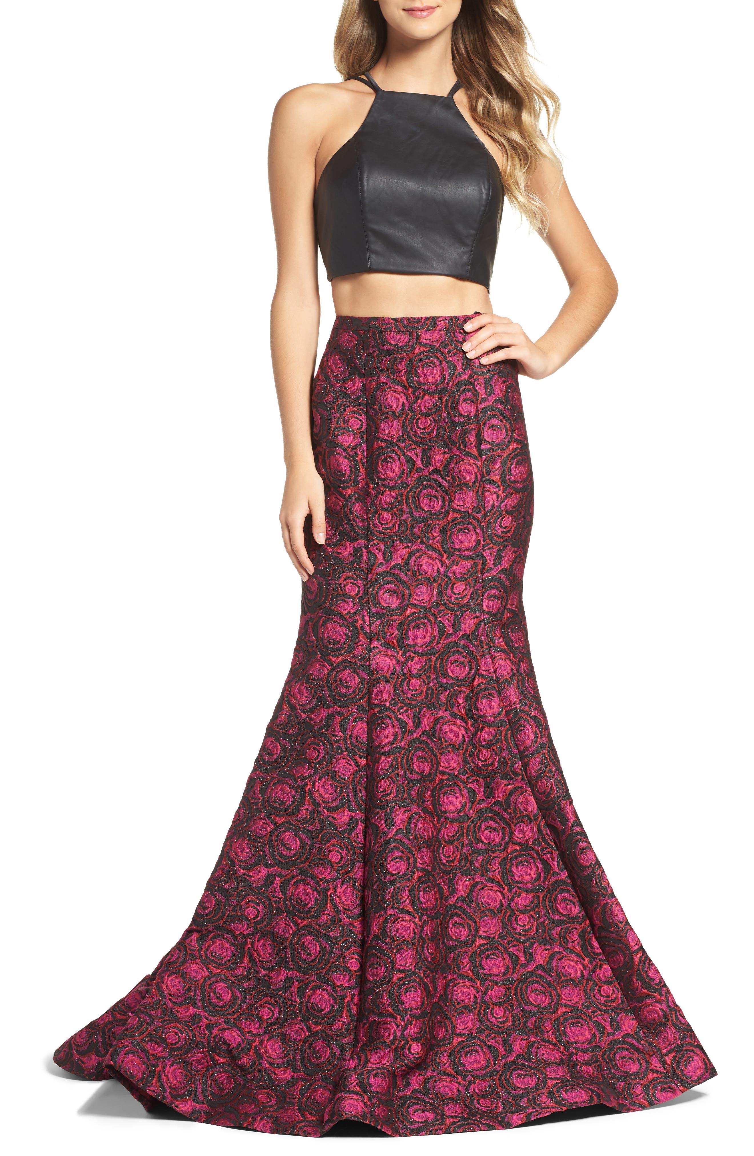 Main Image - La Femme Two-Piece Gown