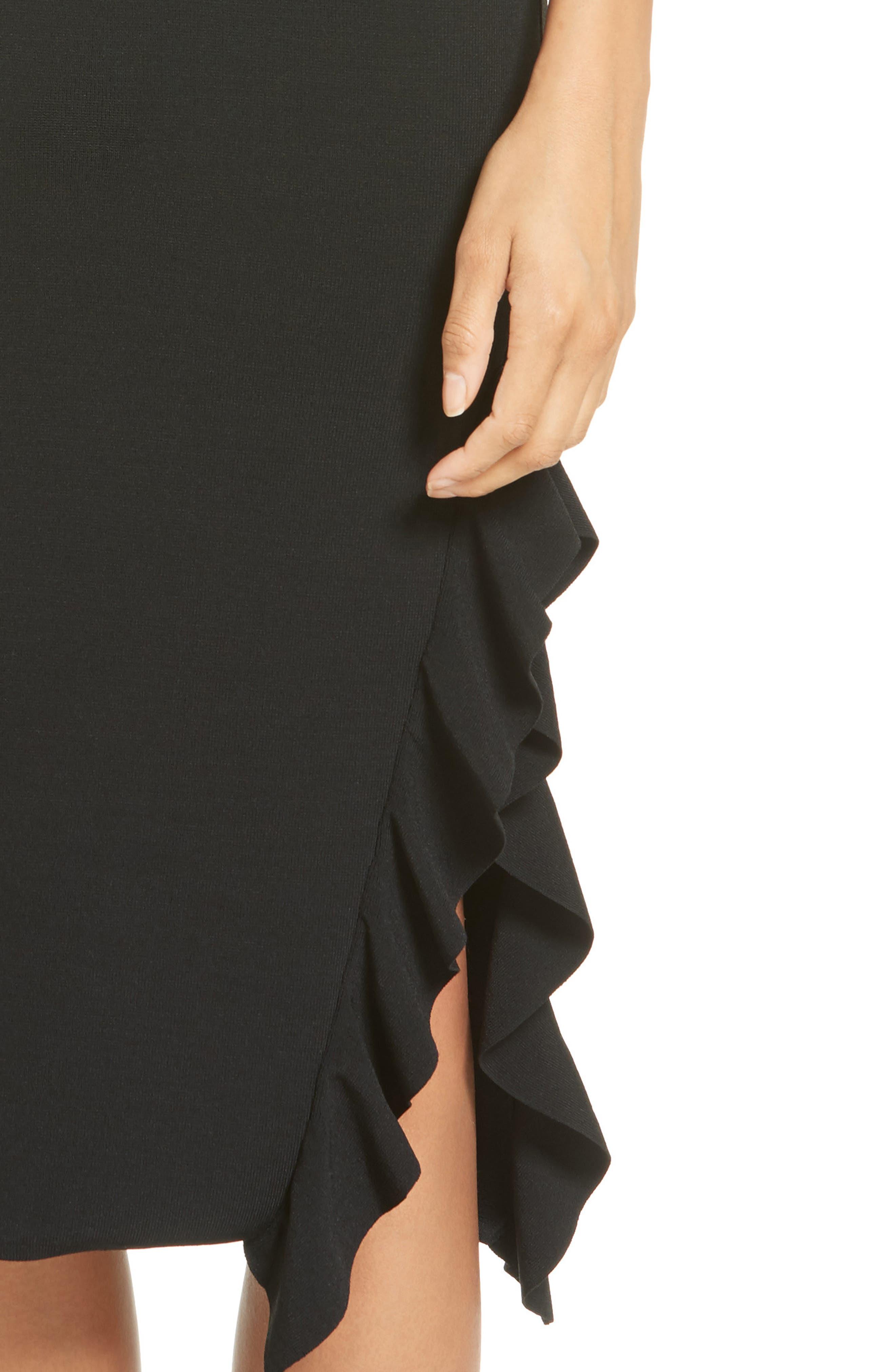 Flounce Hem Dress,                             Alternate thumbnail 4, color,                             Black