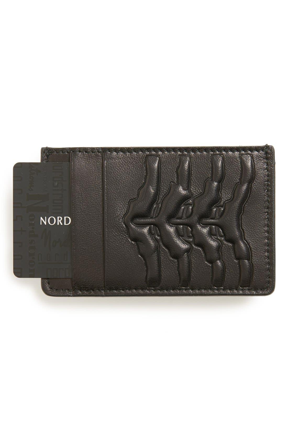 Rib Cage Leather Card Holder,                             Main thumbnail 1, color,                             Black