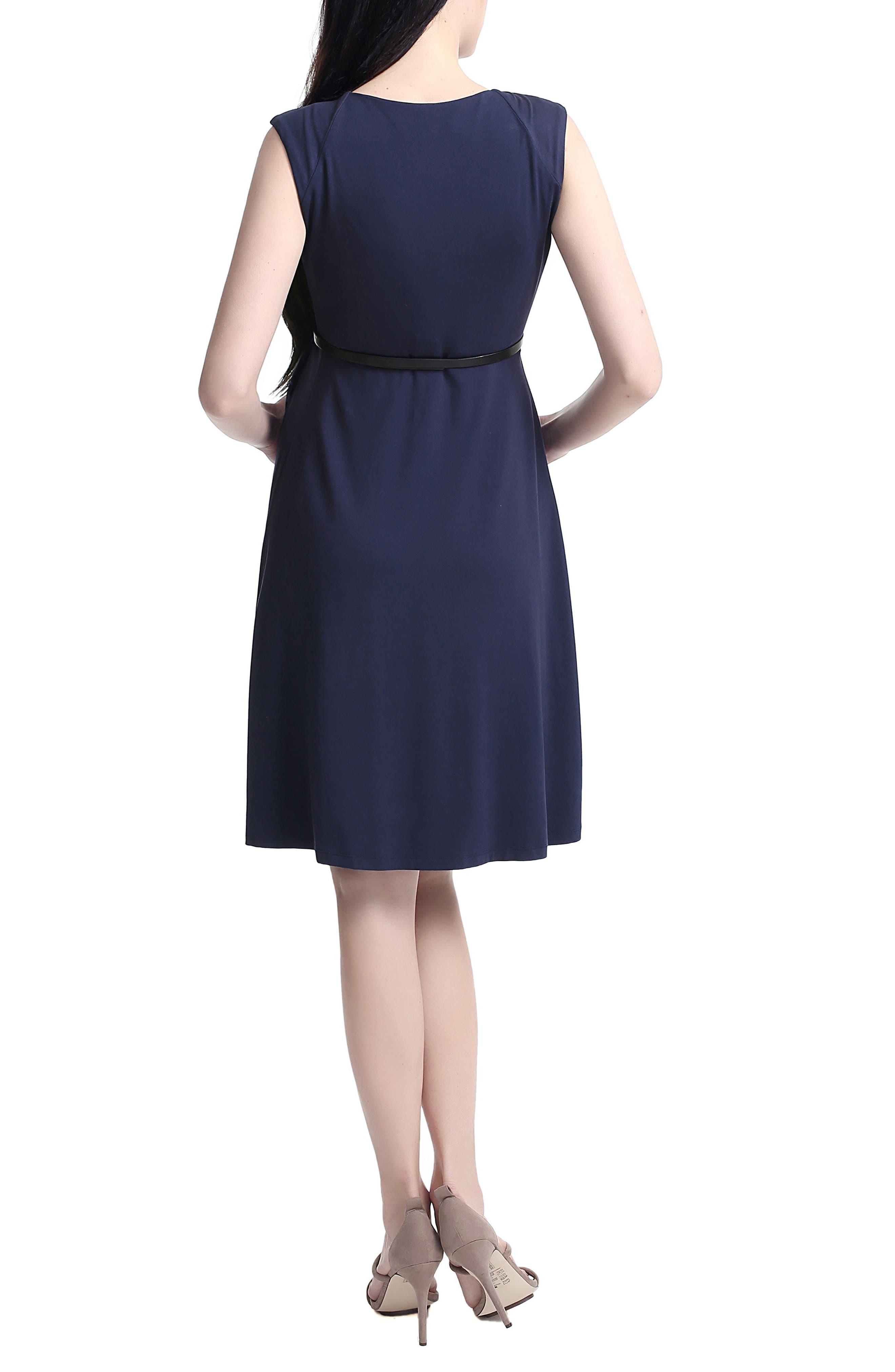 Rana Pleated Maternity/Nursing Dress,                             Alternate thumbnail 2, color,                             Navy