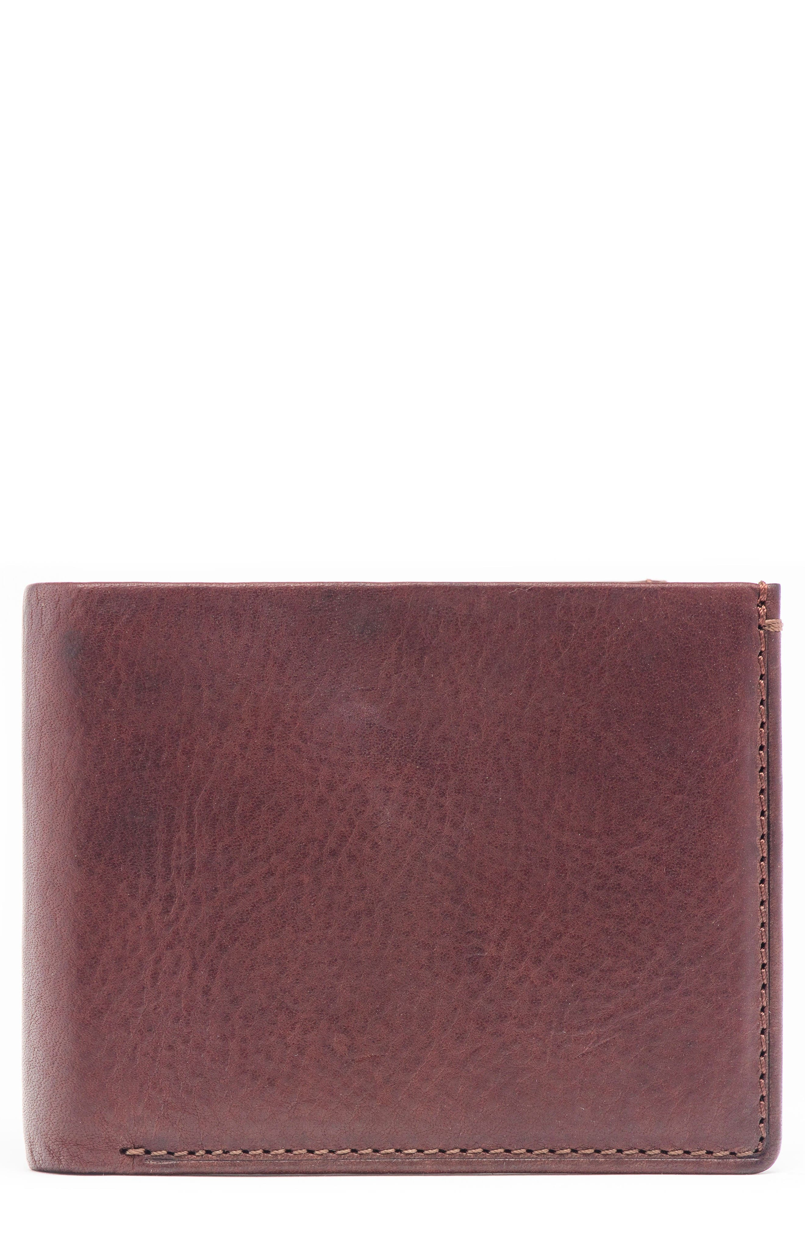 Leather & Denim Bifold Wallet,                         Main,                         color, Blue Denim And Brown Leather