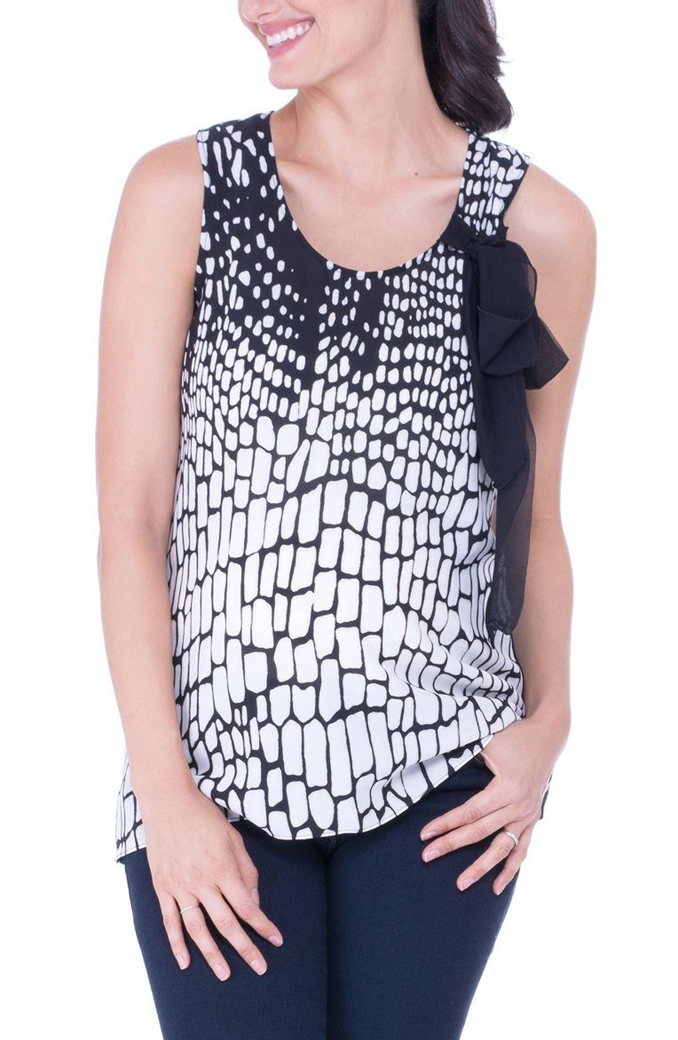 Print Maternity Tank,                         Main,                         color, Black/ White