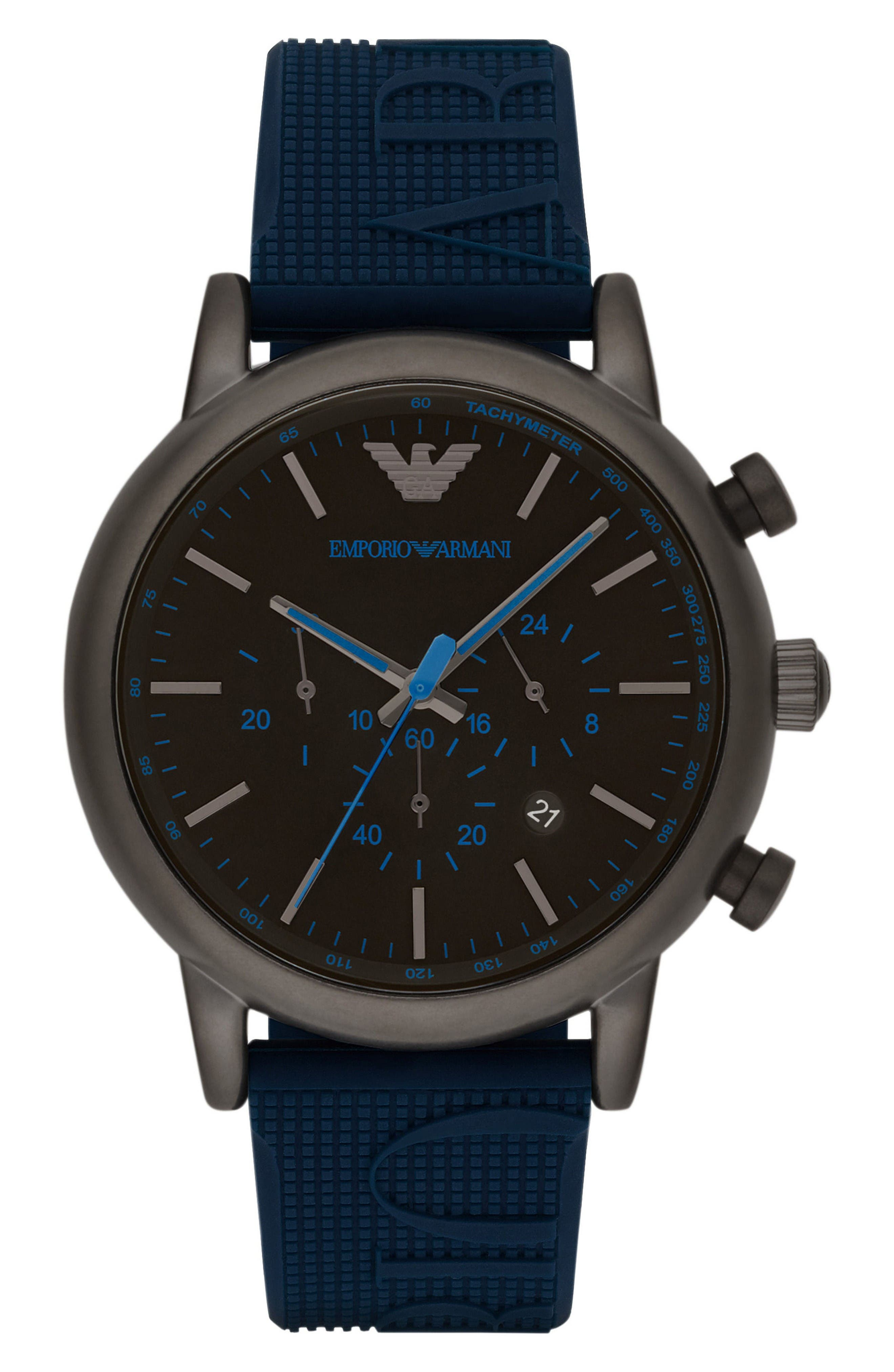 Chronograph Silicone Strap Watch, 28mm,                         Main,                         color, Navy/ Navy