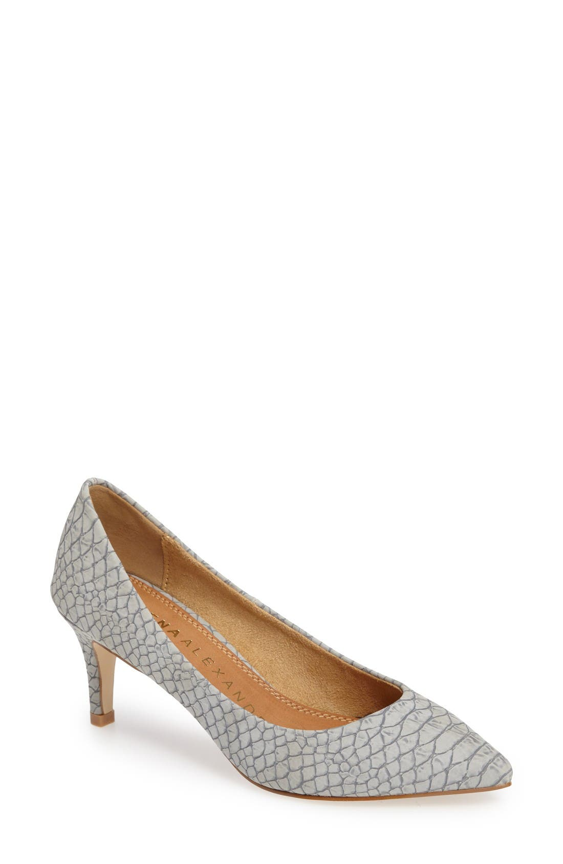 Tikka Pointy Toe Pump,                         Main,                         color, Grey Faux Leather